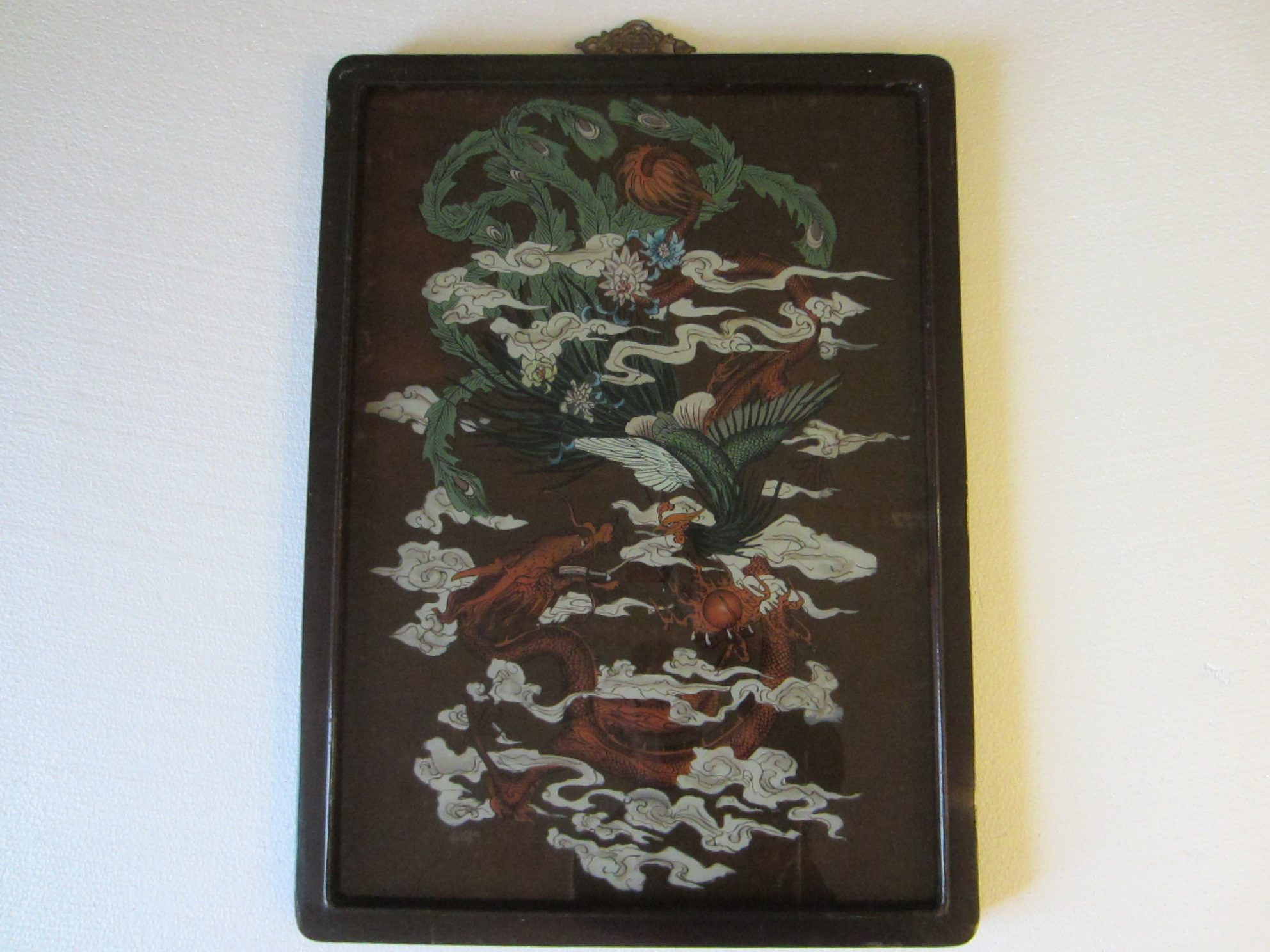 Chinese Reverse Glass Painting Dragon Phoenix Flowers For Sale
