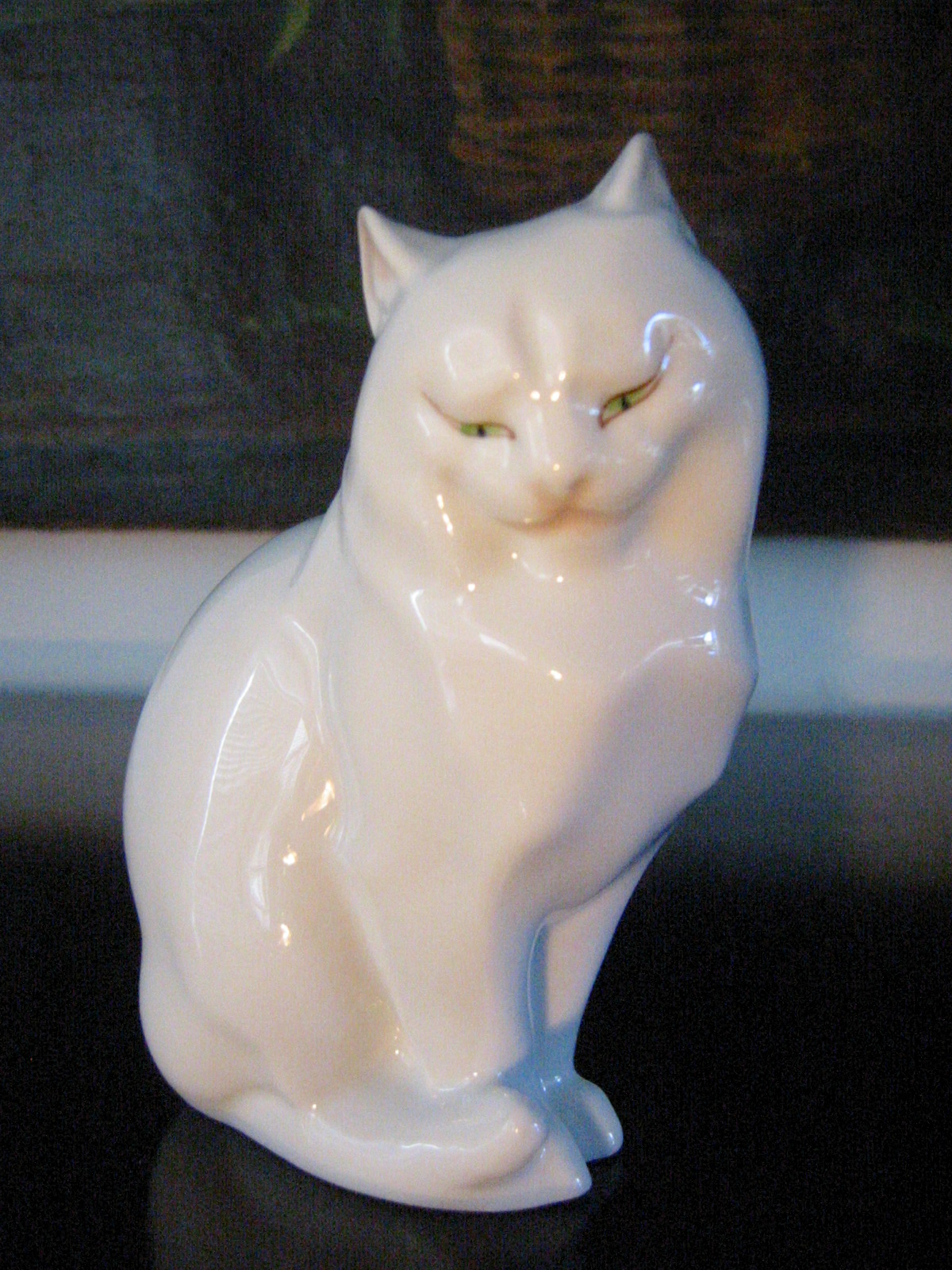 Herend Hand Painted Cat Figurine In Blue