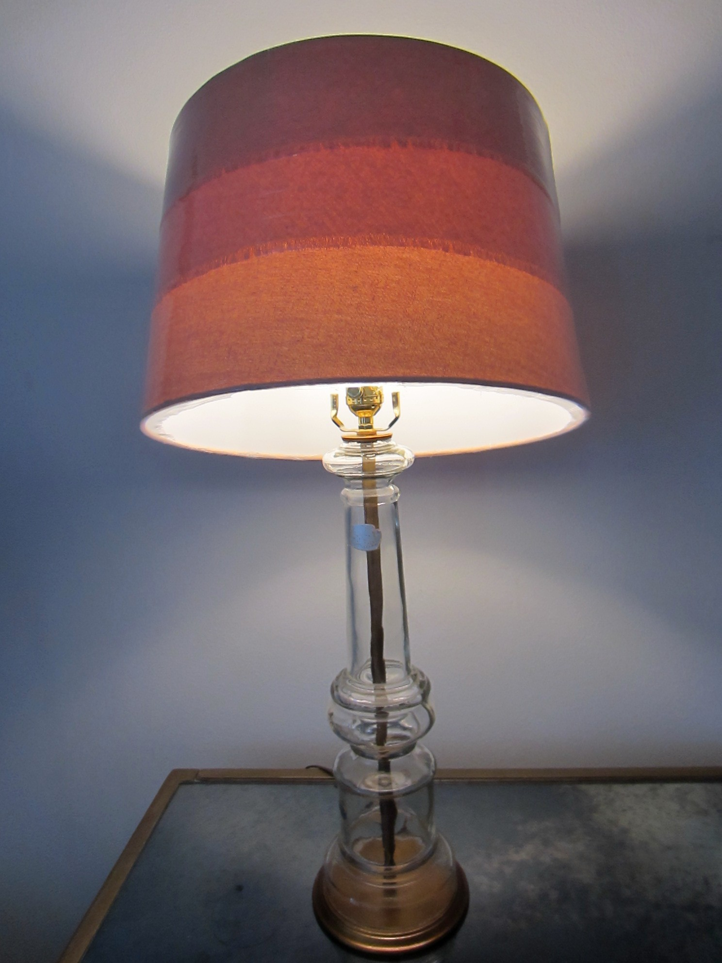 Italian Glass Table Lamp Hand Blown Mid Century Drum Shade