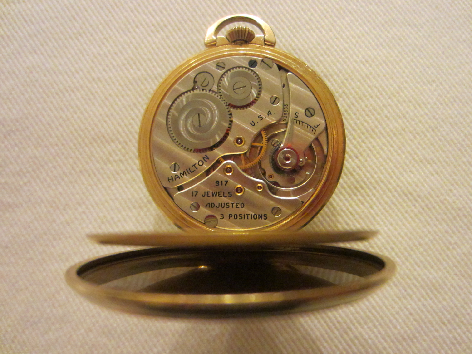 hamilton wadsworth pocket gold filled 17 jewels for