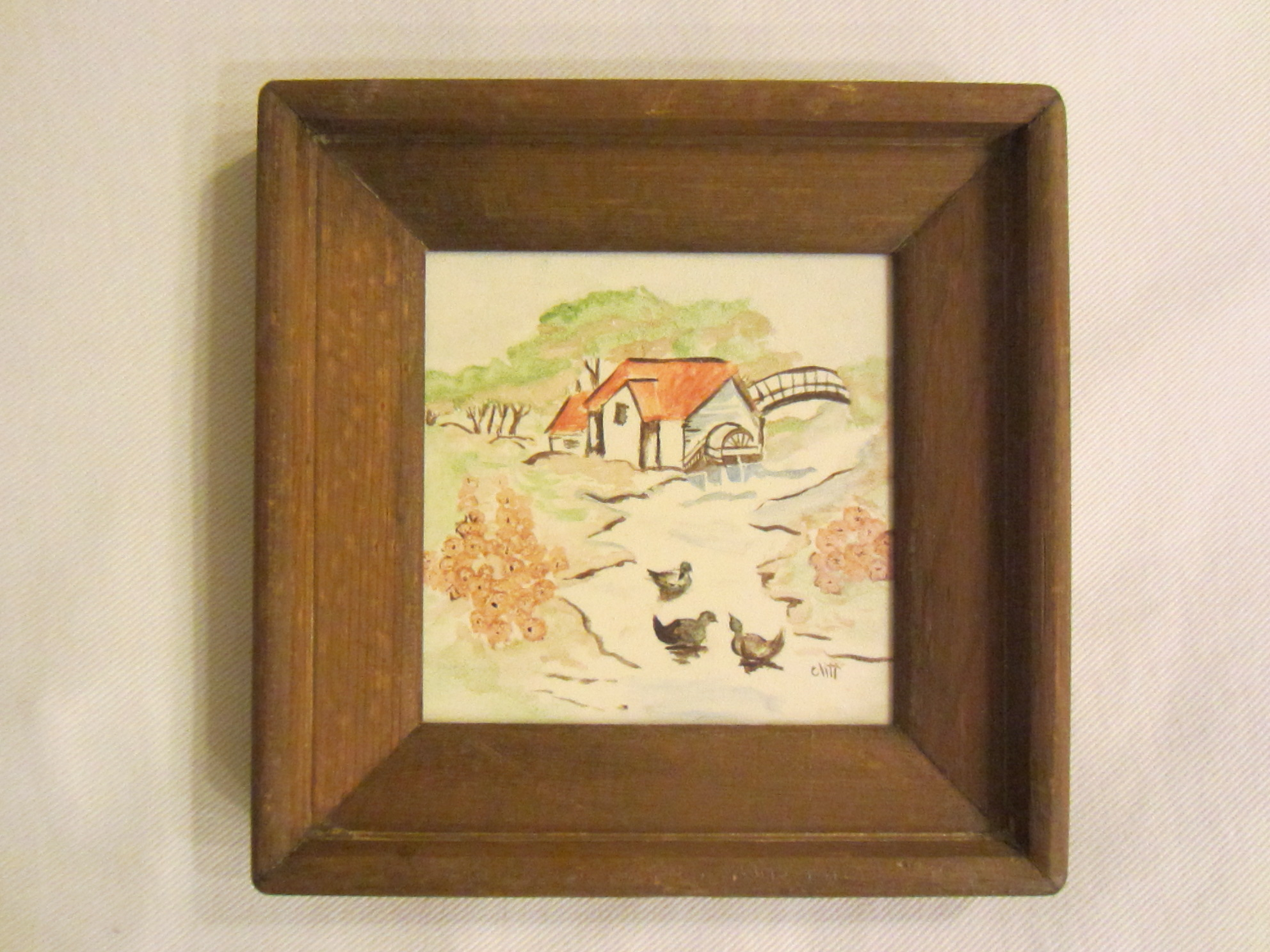 Landscape Hand Painted Framed Ceramic Tile For Sale | Antiques.com ...
