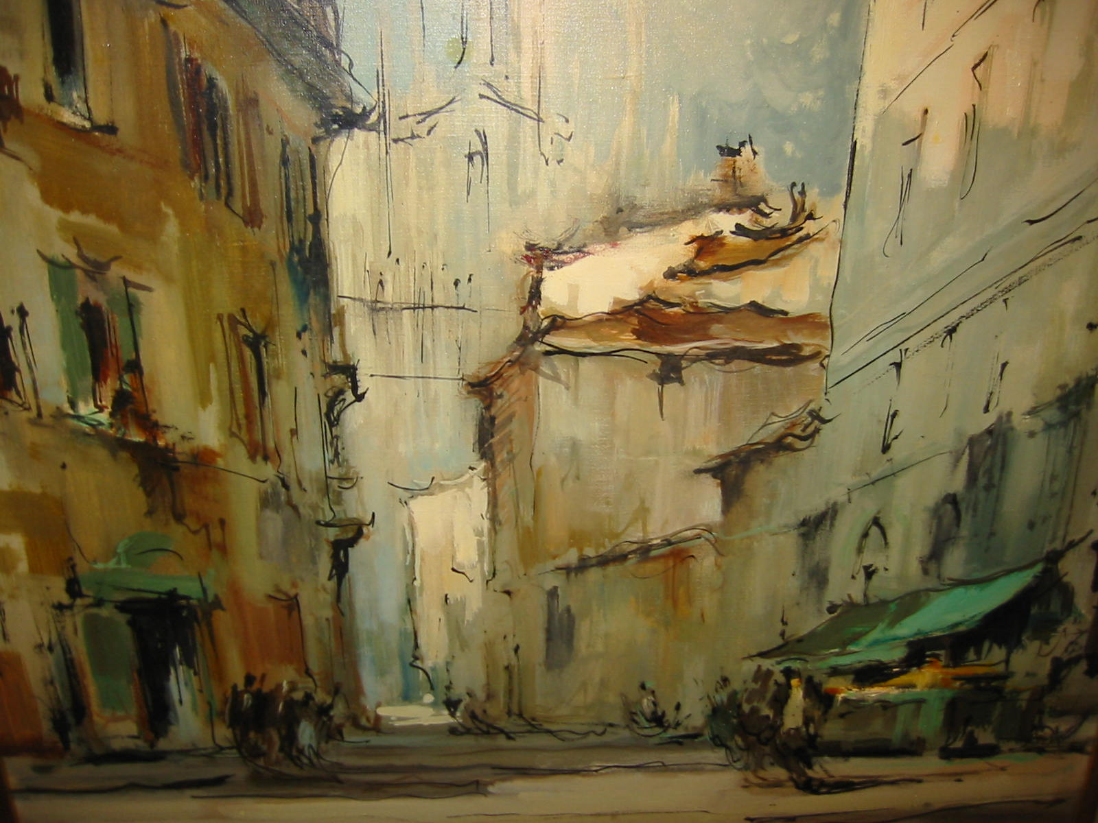 G Frati Italian Impressionist City View Oil On Canvas For