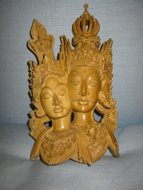 Rama and sita hand carved bali wood statue for sale