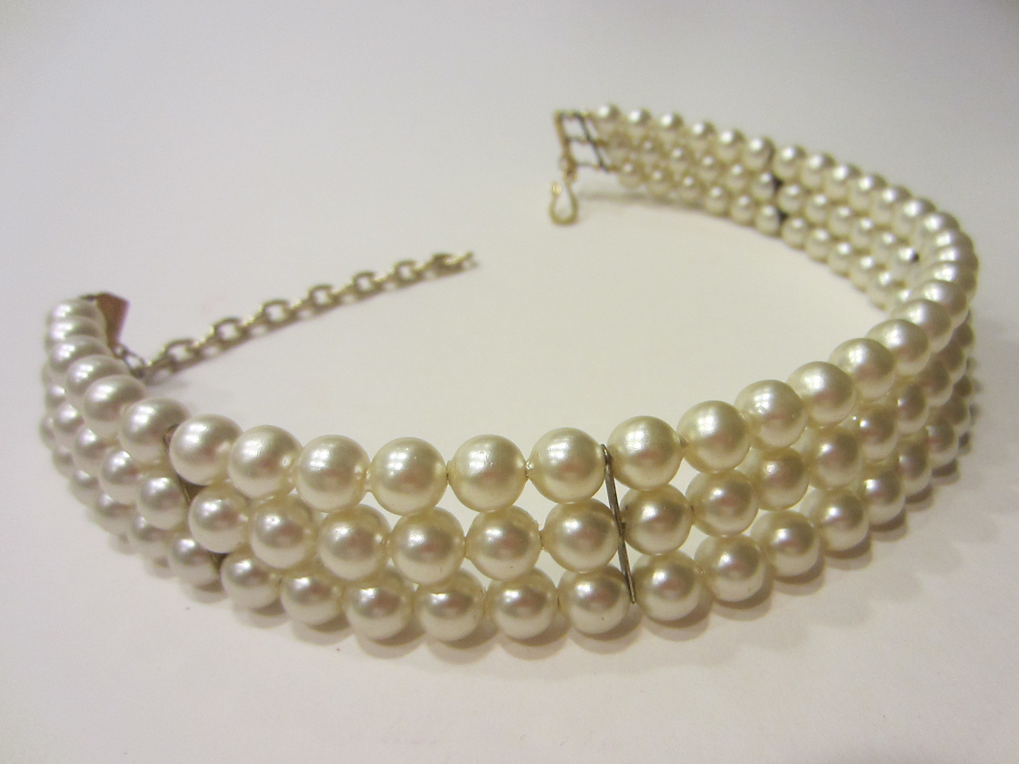 Bridal Pearl Choker Three Strands Brass Closure Link Chain For Sale ...