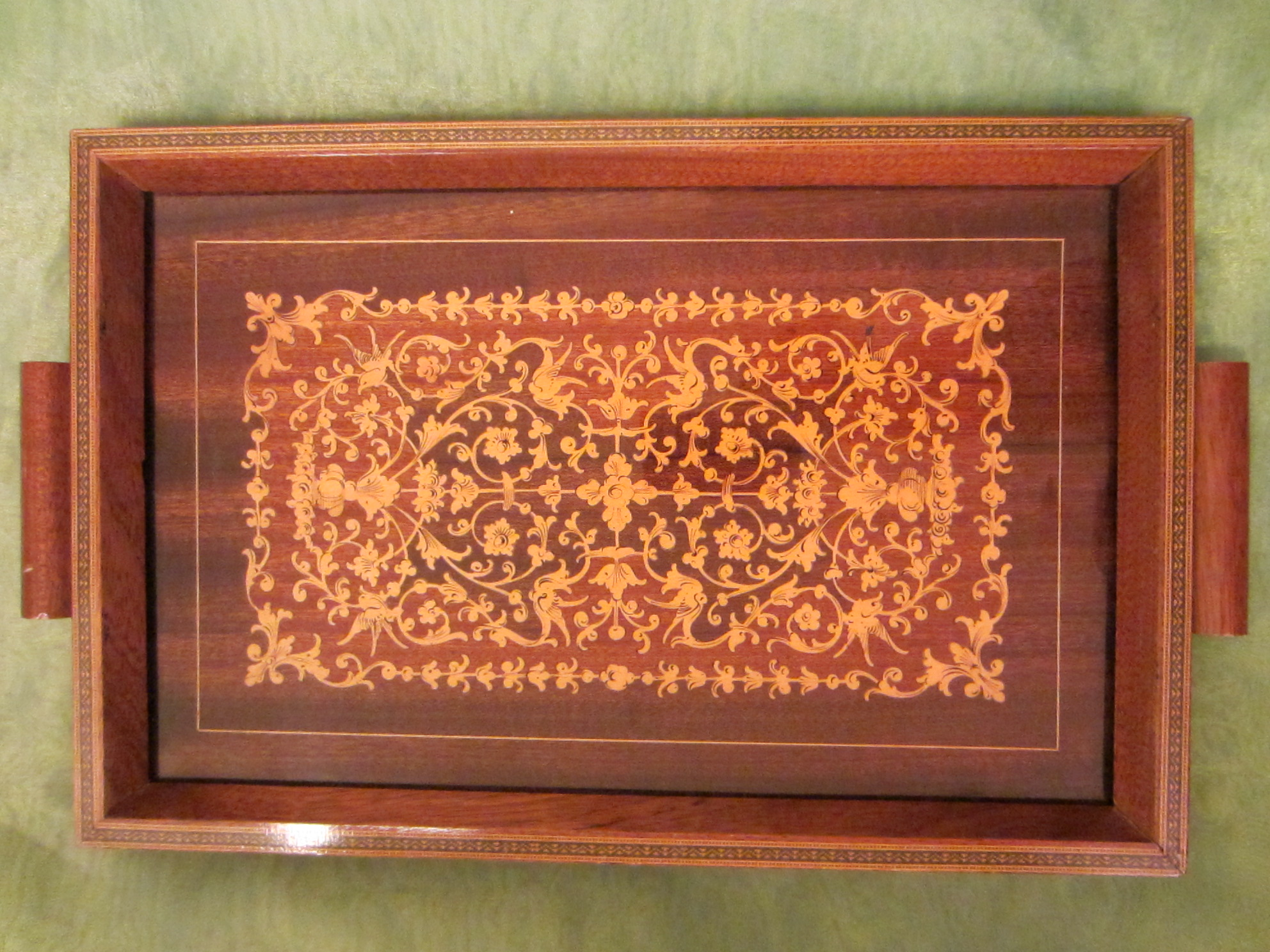 Marquetry Wood Italian Serving Tray For Sale Antiques