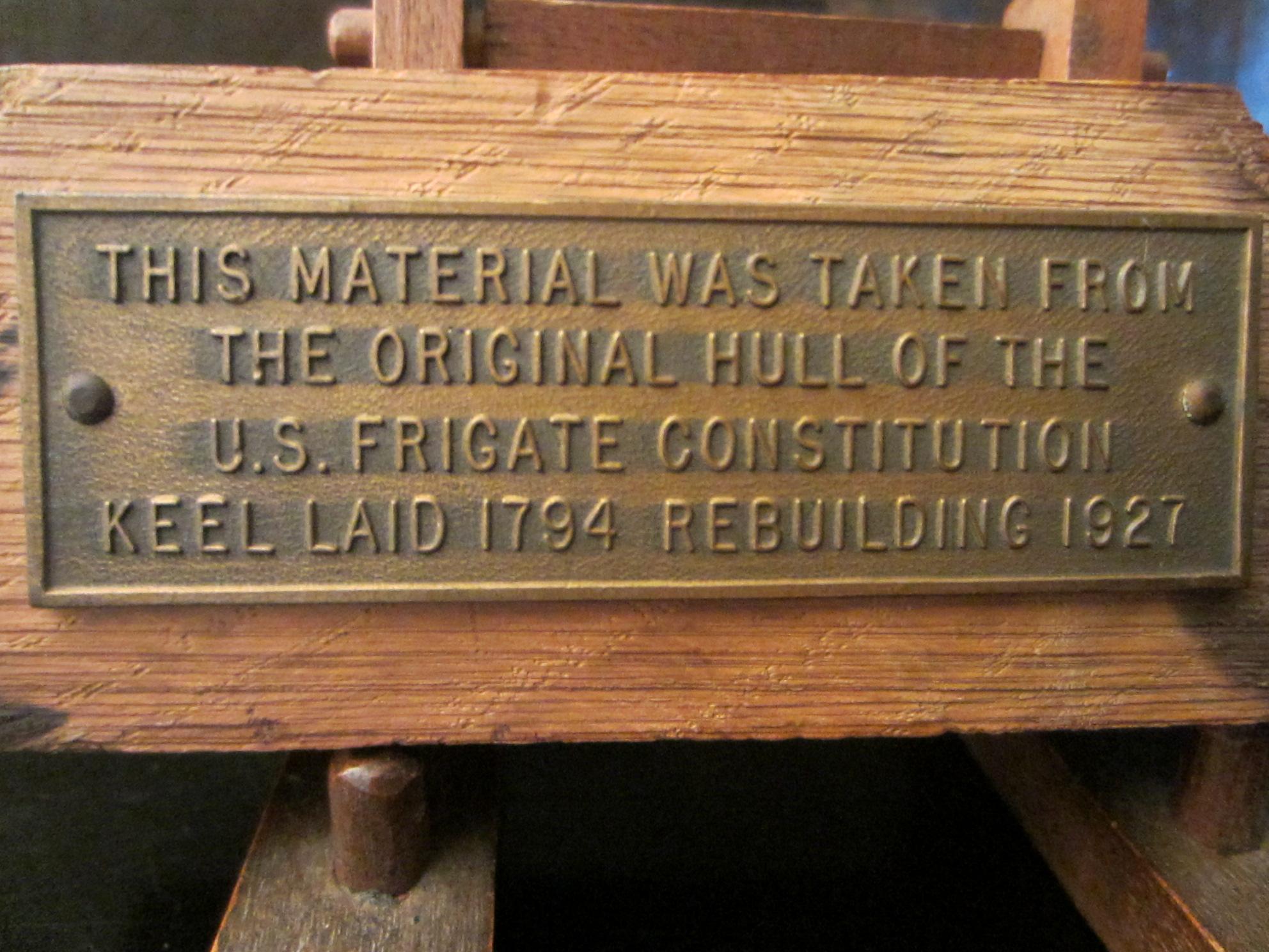 Metal plaque from u s frigate constitution hull on wood - Plaque d aluminium pour cuisine ...