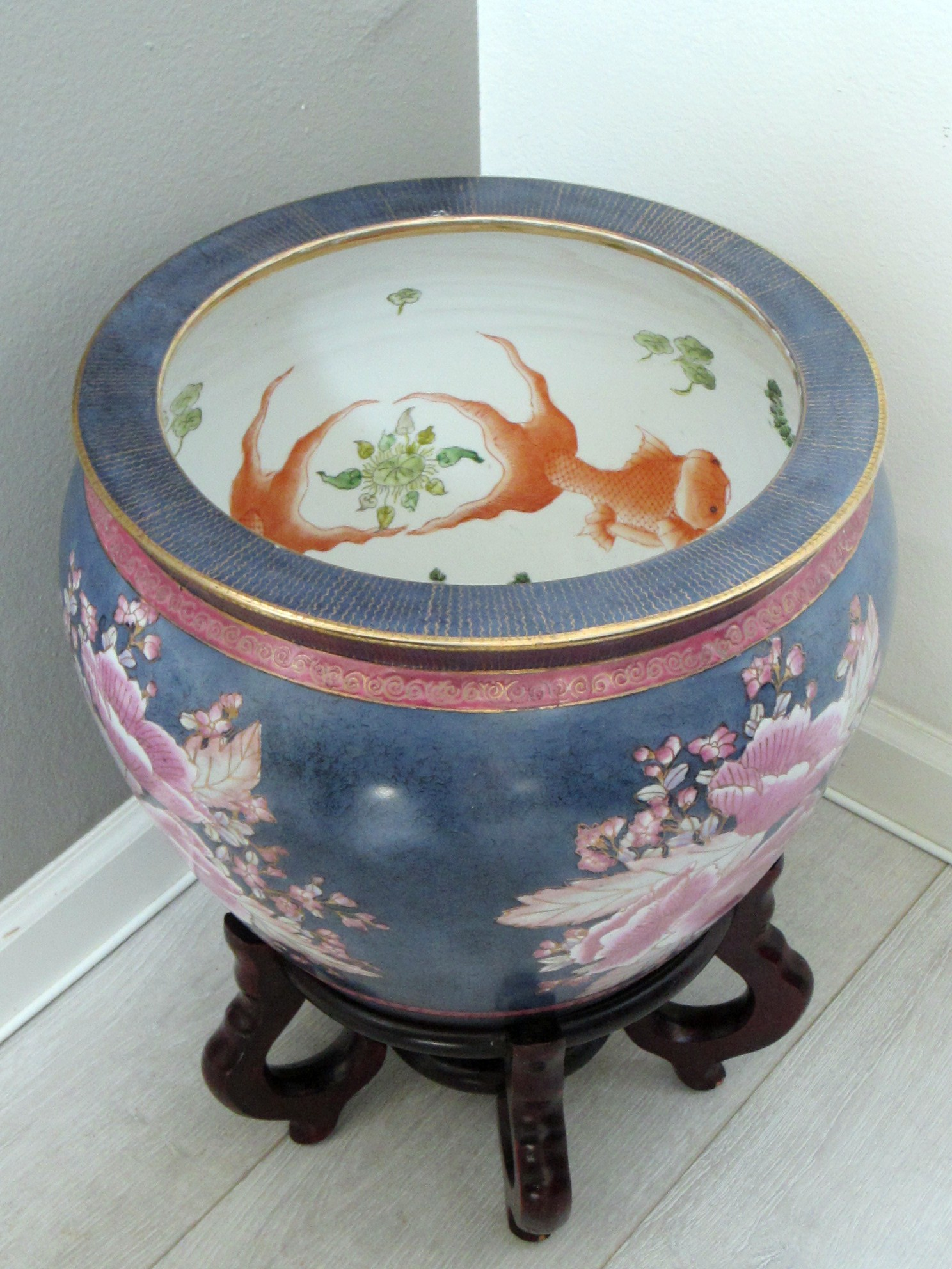Chinese porcelain fish bowl planter hand painted floral for Chinese fish bowl planter