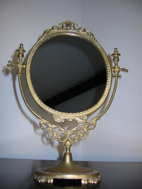 Ormolu Vingage Brass Vanity Table Top Mirror For