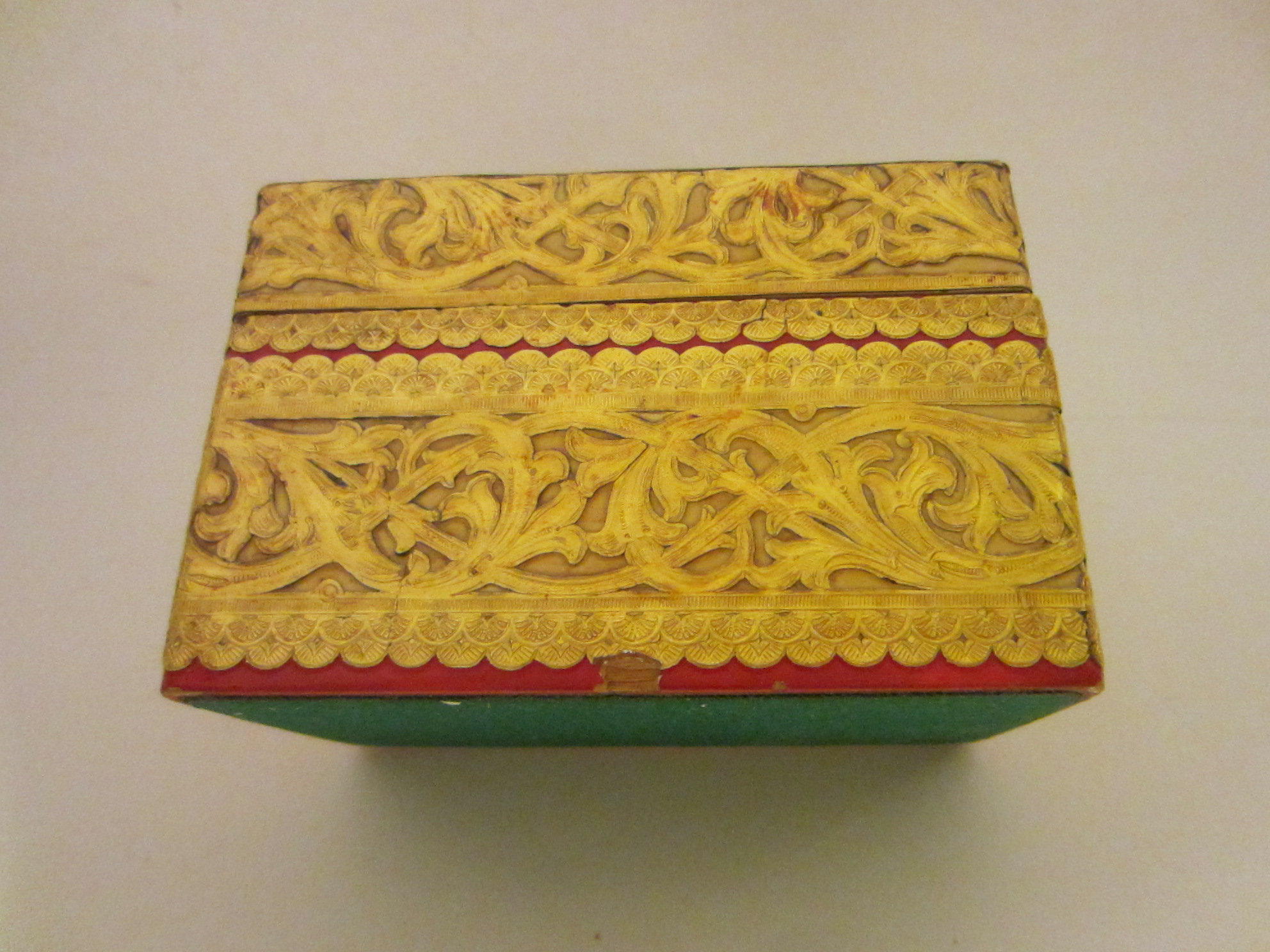 tribal mughal empire style figurative sectional card box inlaid