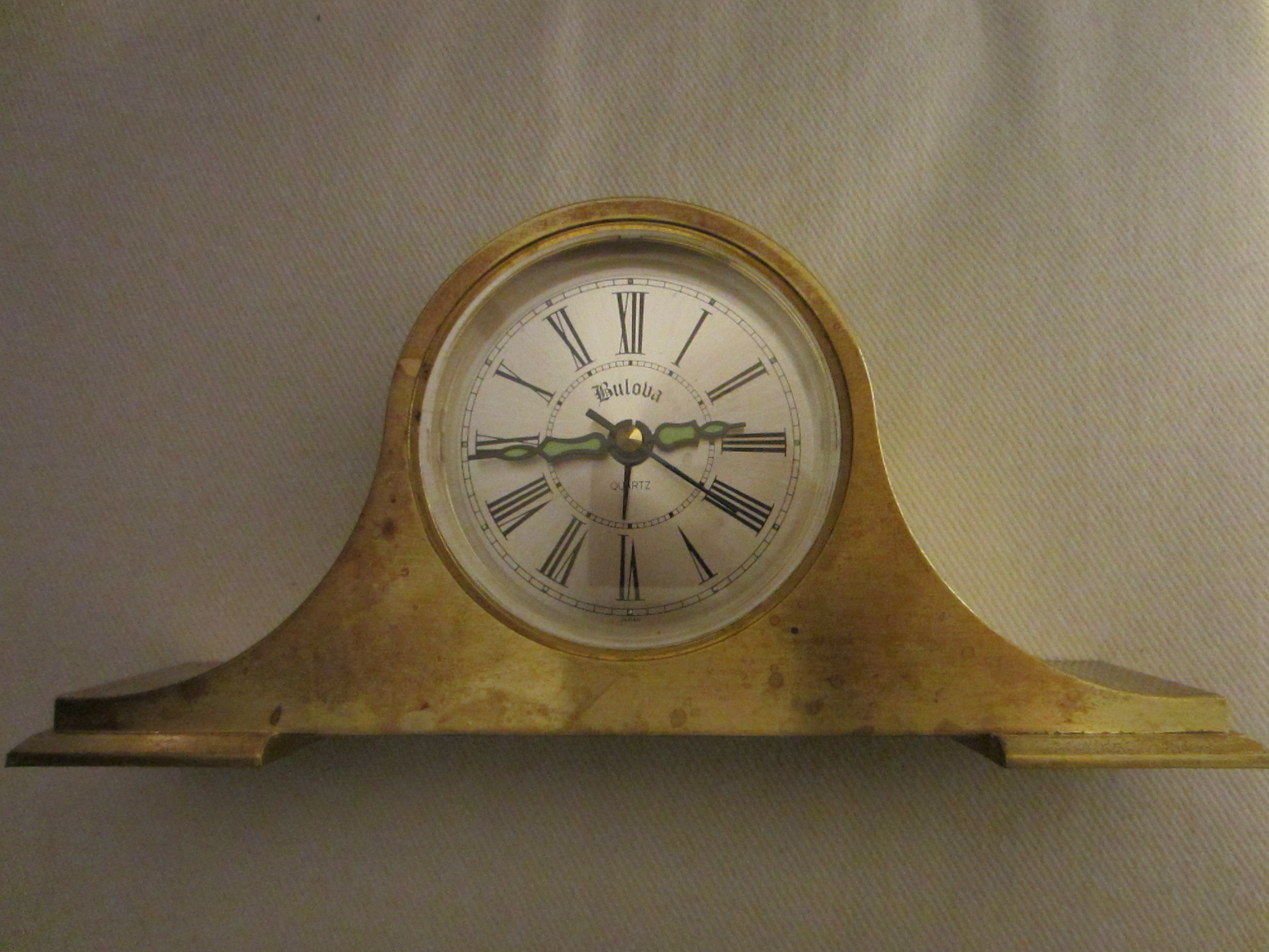 Bulova Japan Brass Desk Clock For Sale