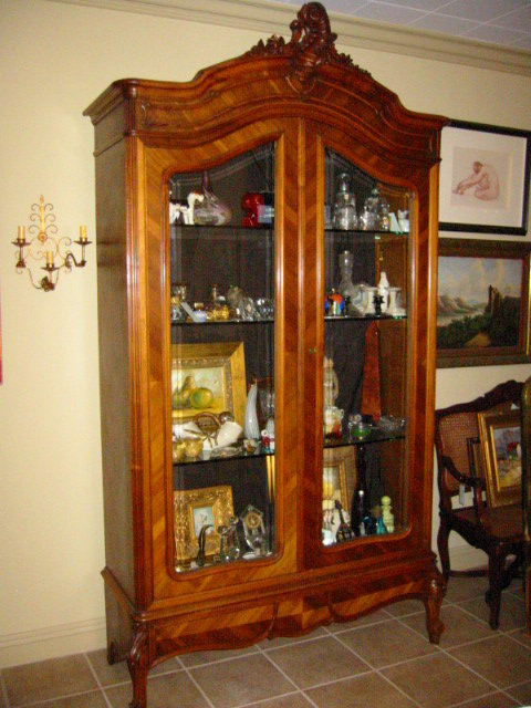 Armoire Provencal Style French Walnut Double Beveled Glass
