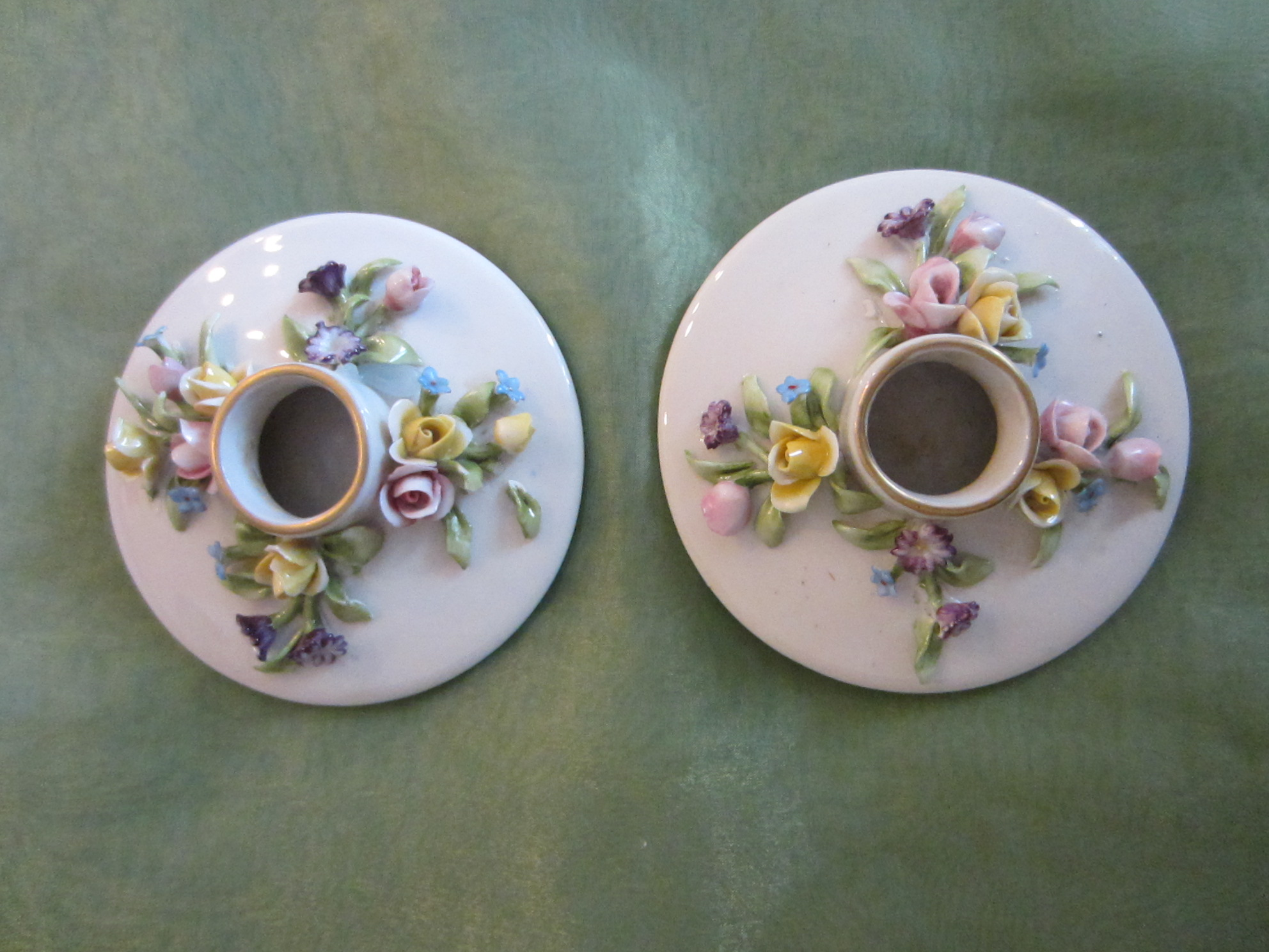 Capo Di Monte Italian Porcelain Candle Holders Applied Raised Spring