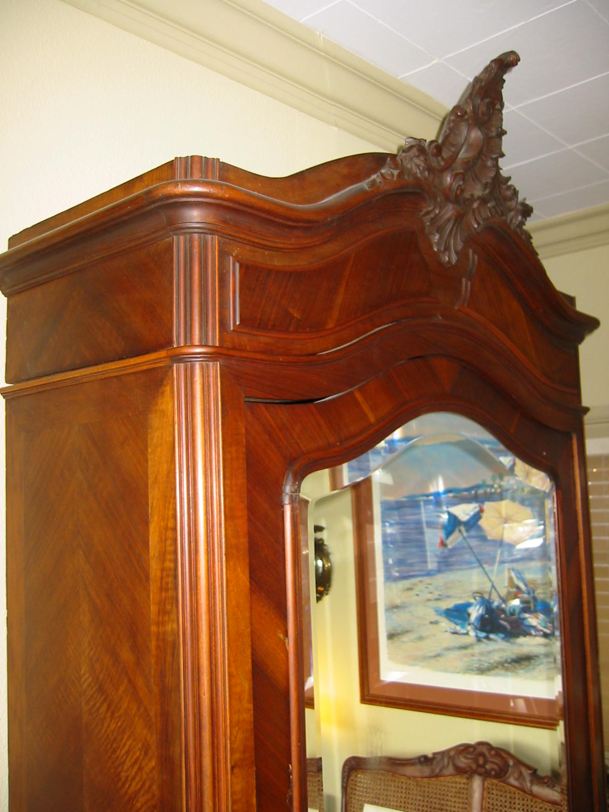 french armoire gorgeous crested walnut mahogany wood from paris france incredible dark wood beveled mirrored door sectional interior inscribed label antique mahogany armoire