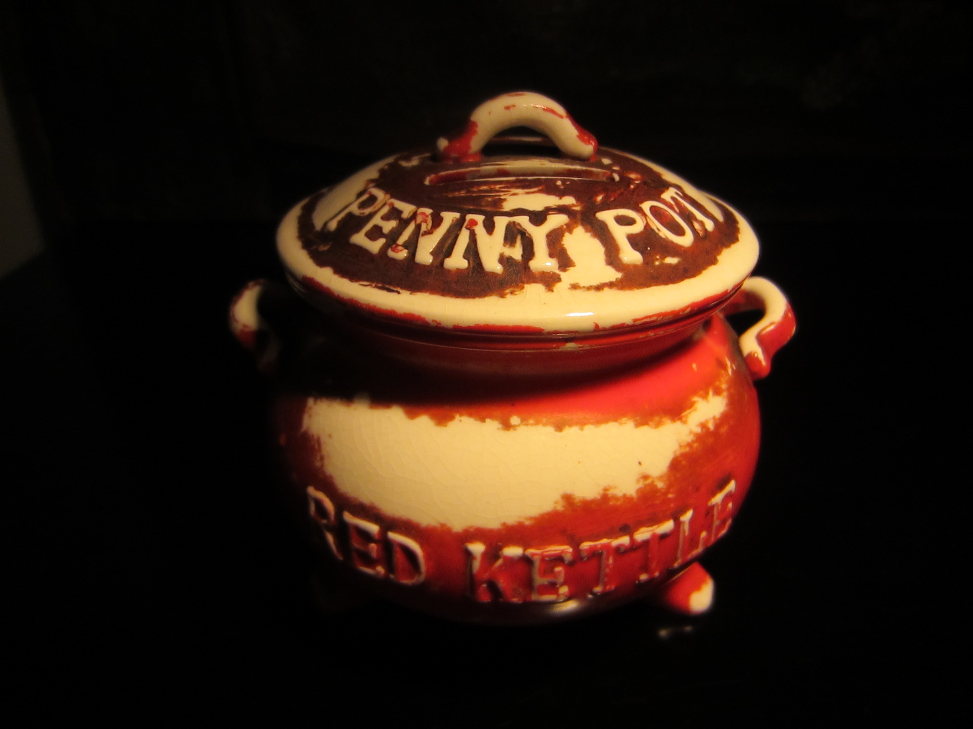 Red Kettle Penny Pot Lego Japan Ceramic Bank For Sale