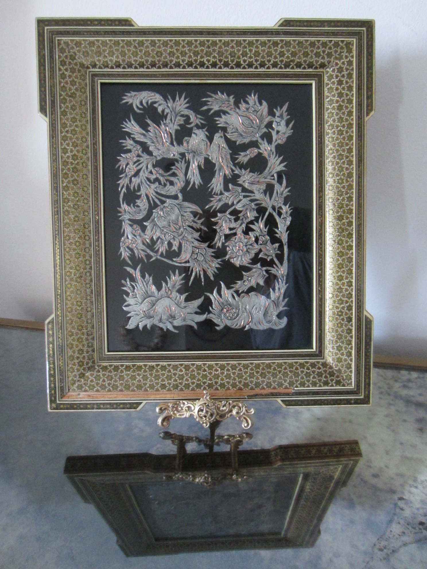 etched metal persian copper art inlaid khatam frame for sale classifieds. Black Bedroom Furniture Sets. Home Design Ideas