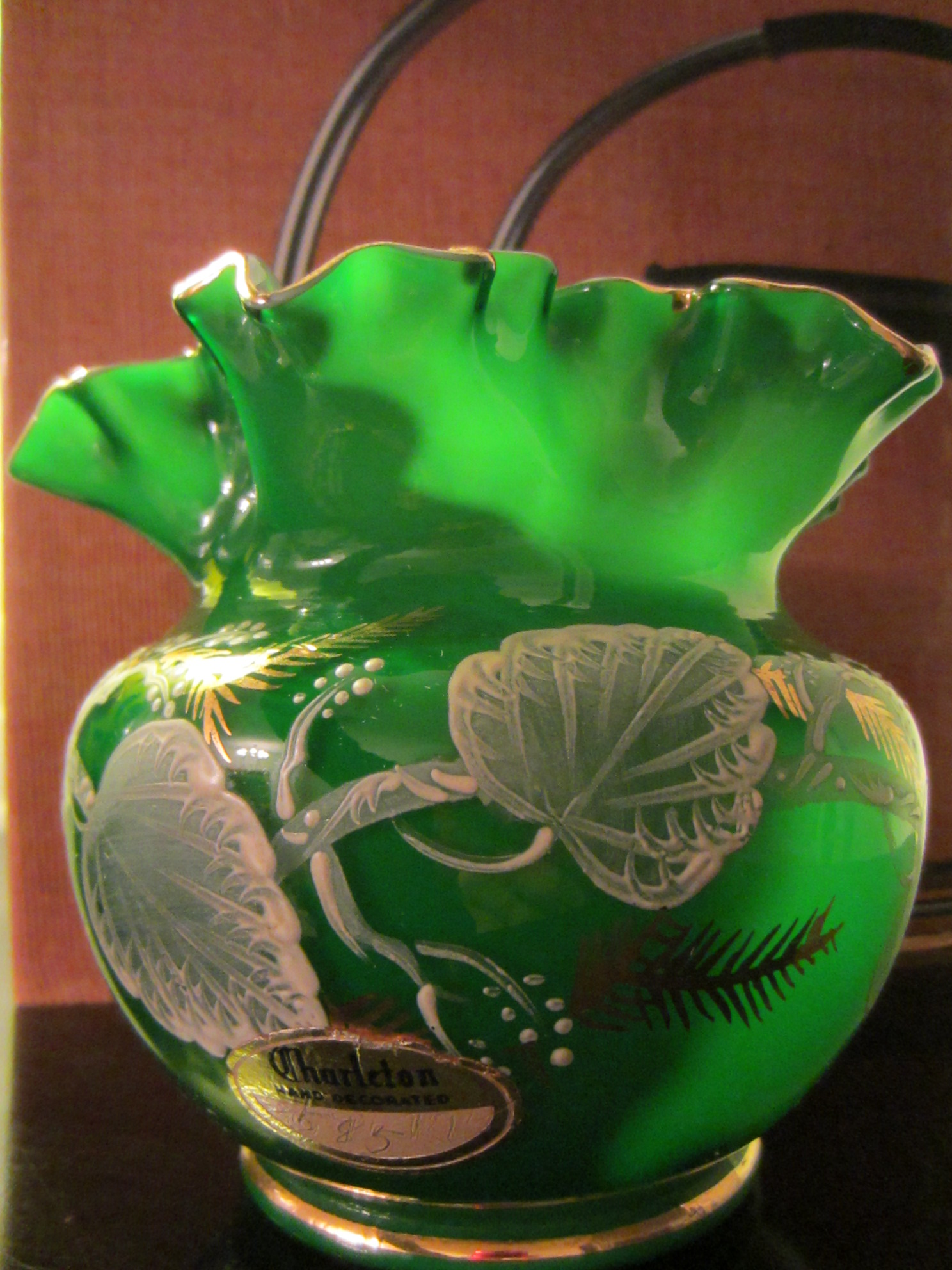 Charleton hand decorated green ruffle glass vase for sale charleton hand decorated stunning green glass vase ruffle edge by fenton in excellent condition designed with gold white painted borders ivy leaves reviewsmspy