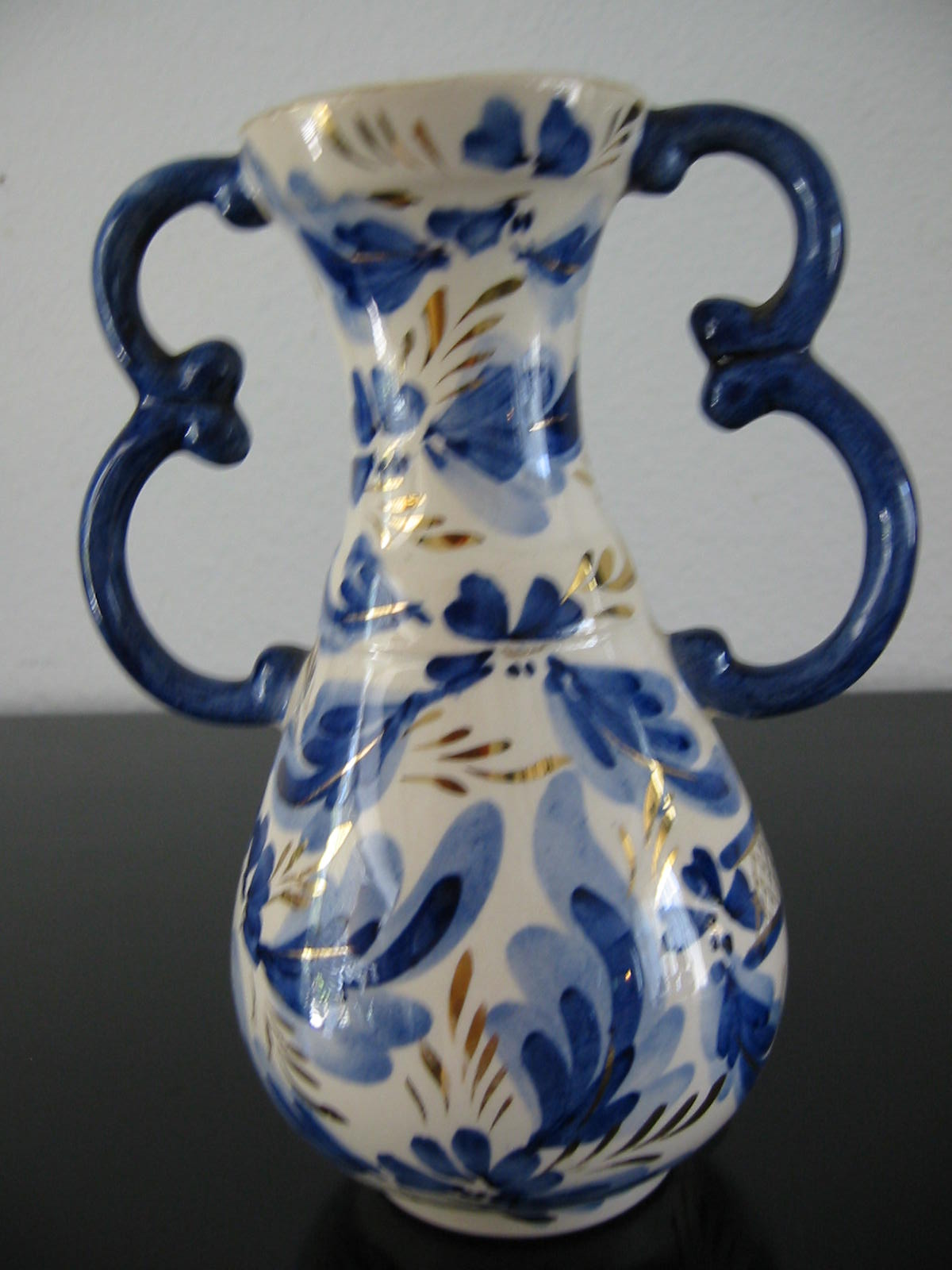 Ceramic vase gold handles blue flowers belgian art deco tapered neck for sale - Deco vintage belgique ...