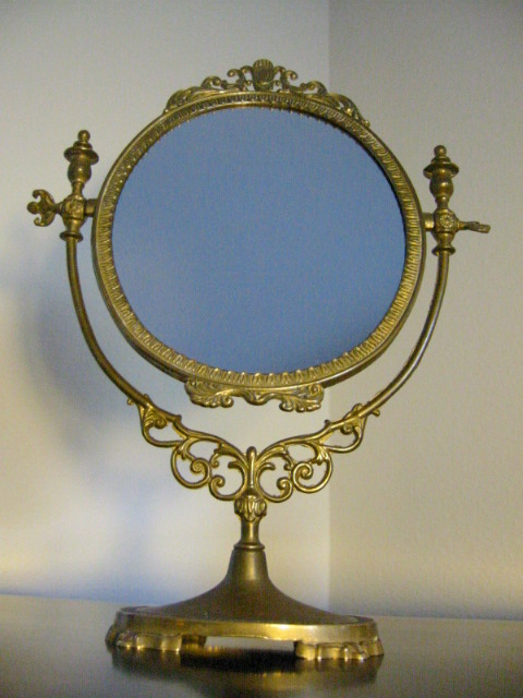 Fal A Charming Ormolu Revolving Table Top Vanity Mirror Etched Mark Incredible Workmanship And Relief Brass Frame Stand 14 5 H X 10 W Base