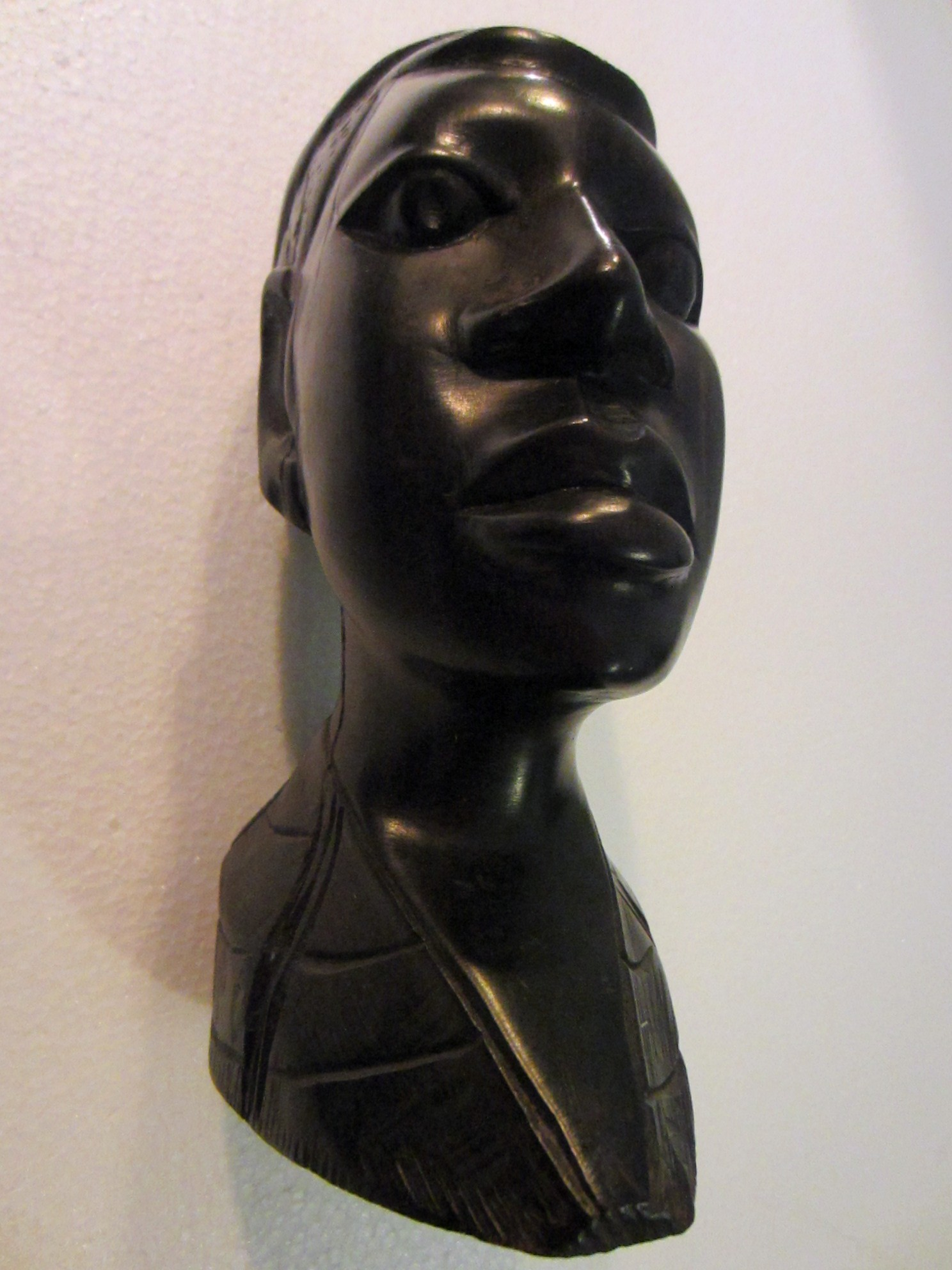 African Bust Hand Carving Ebony Wood Sculpture For Sale