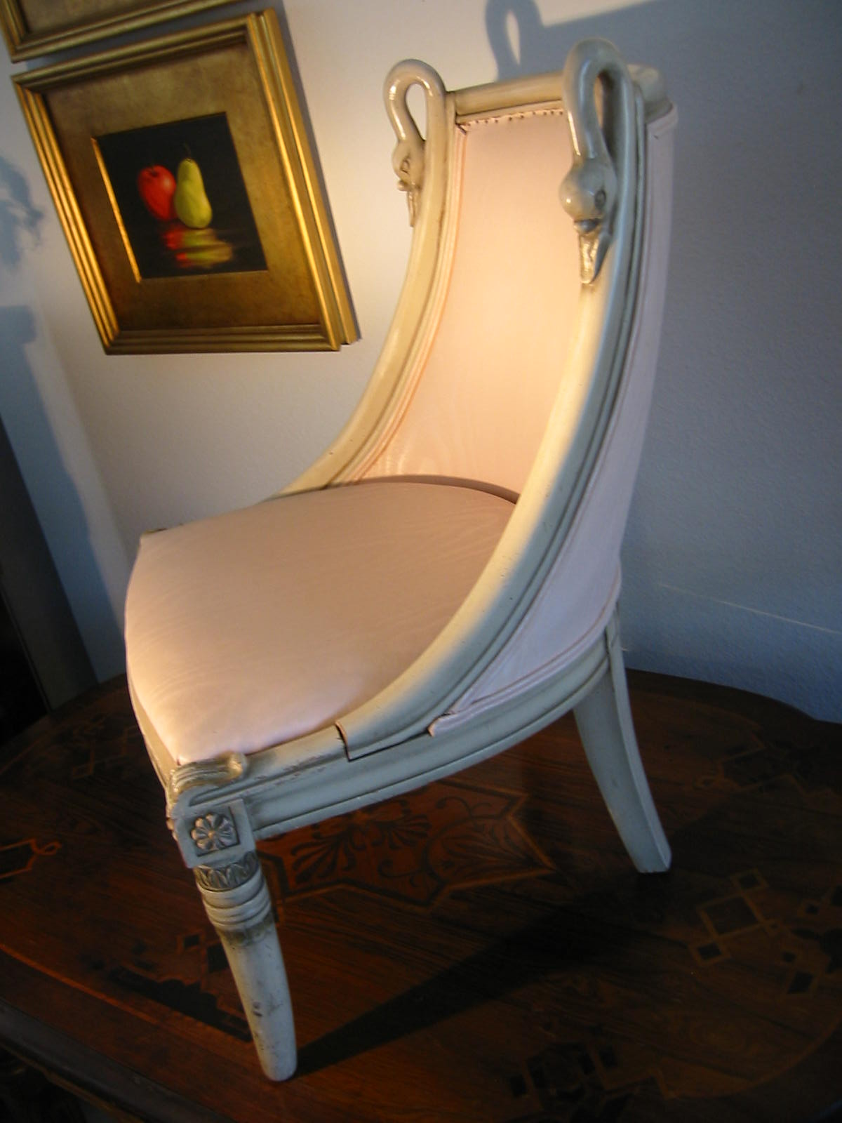 Mid century wood boudoir pair swan design chairs for sale for Swan chairs for sale