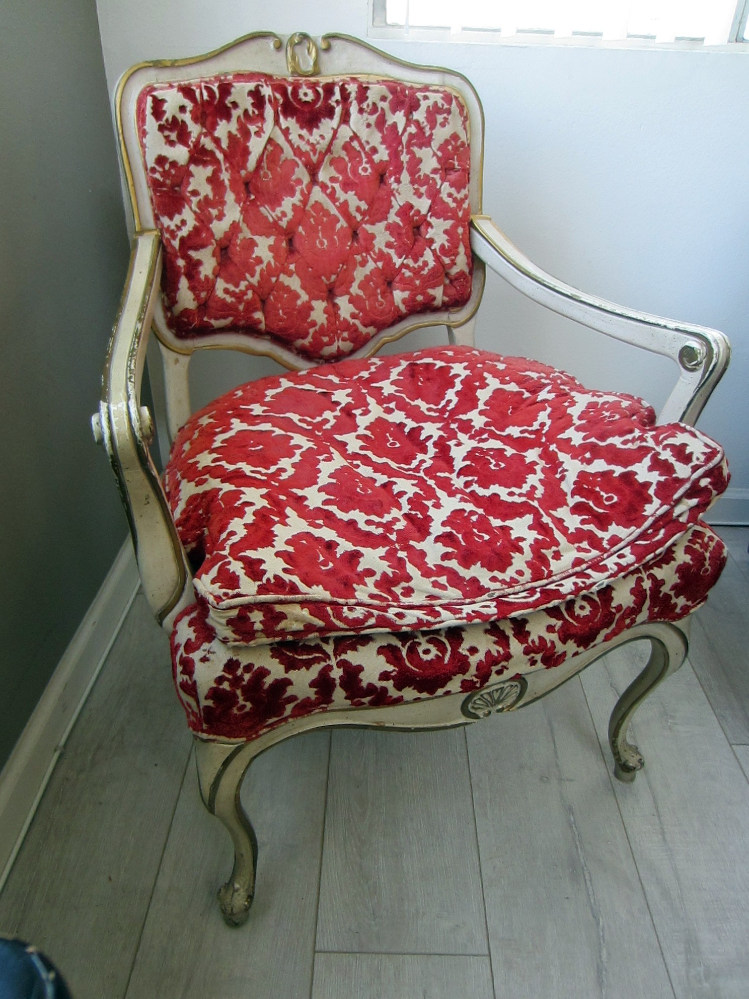 French Hibriten Arm Chair Red Floral Textile White Gold