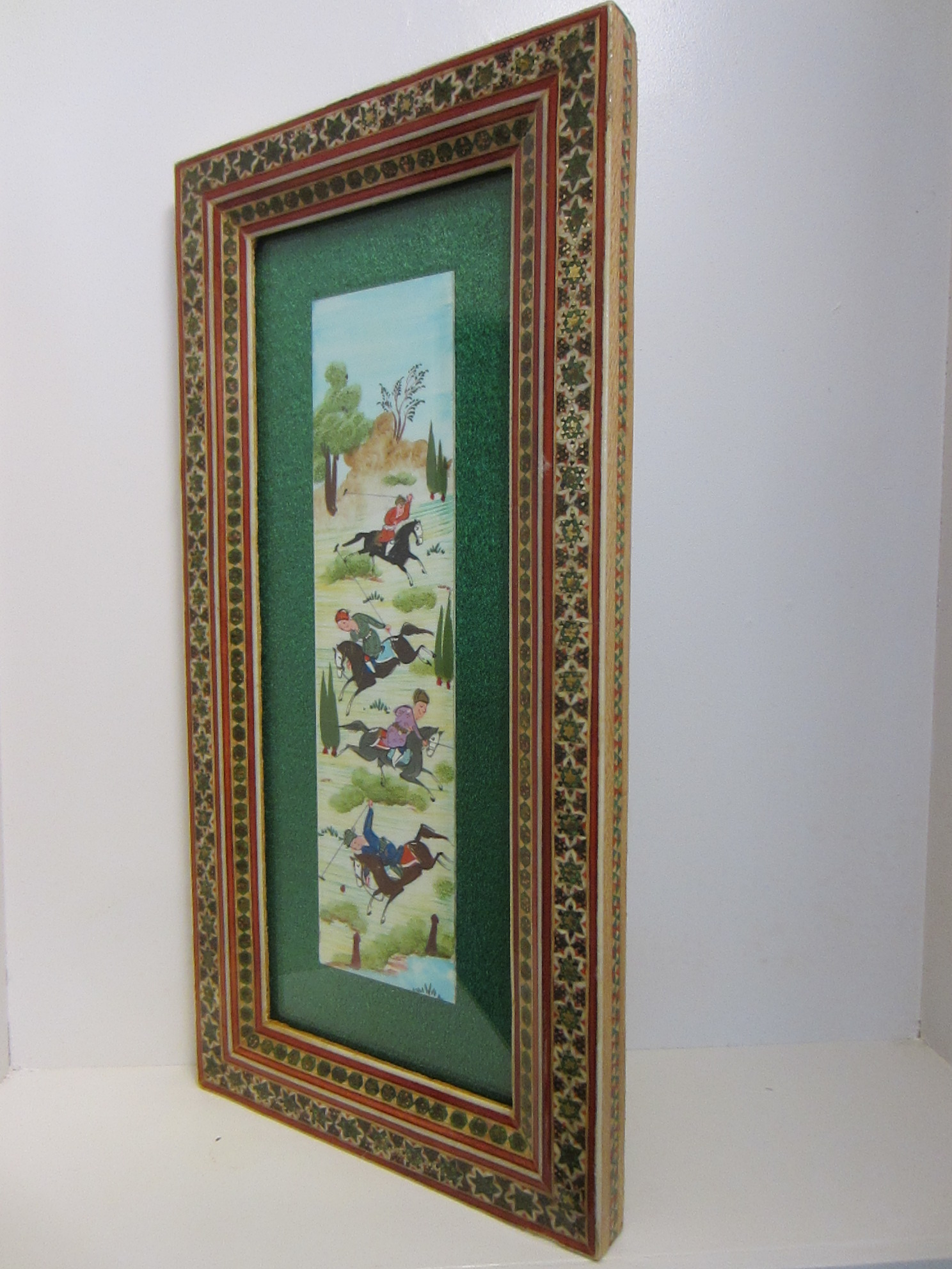 persian art hunting sport scene khatam inlay wood frame for sale classifieds. Black Bedroom Furniture Sets. Home Design Ideas