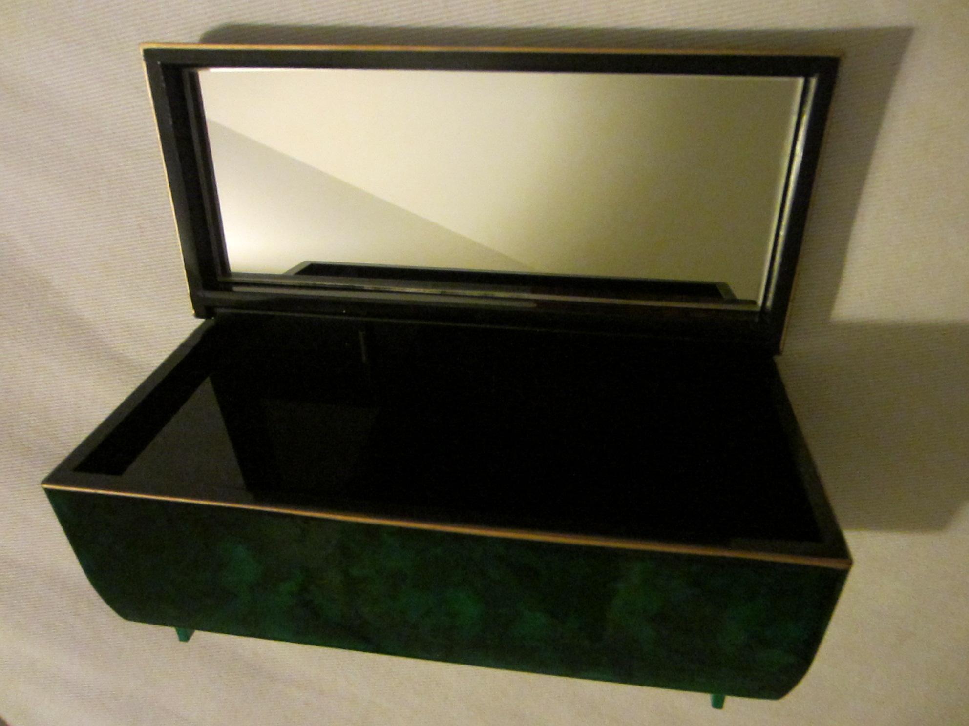 Otagiri Japan Malachite Design Lacquer Jewelry Music Box For Sale