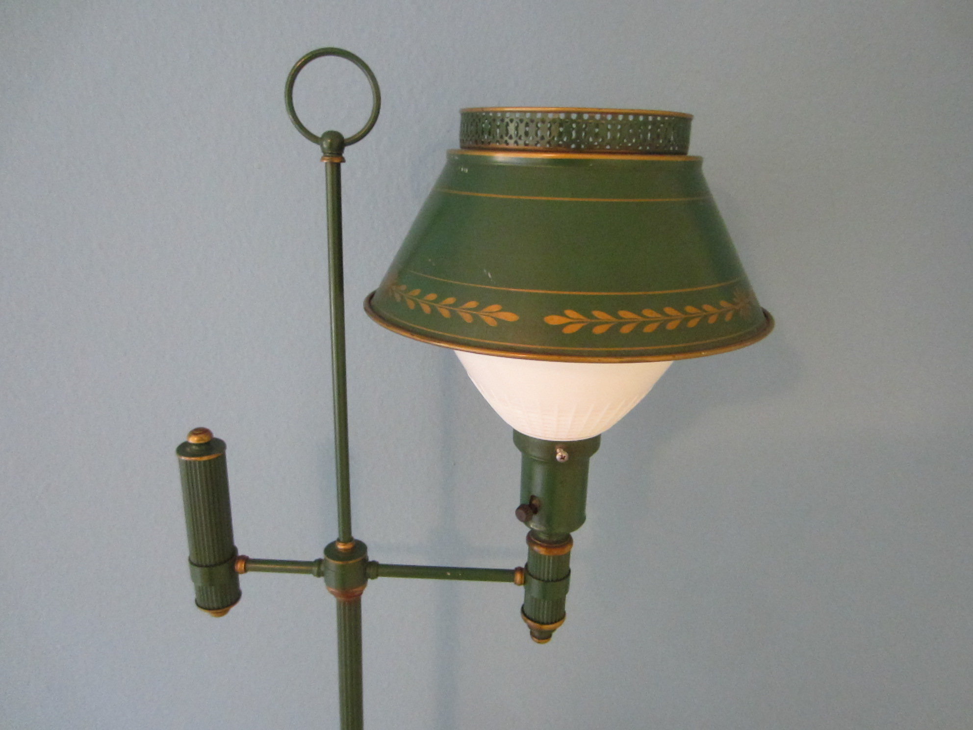 Green Tole Floor Lamp French Style Metal Gilt Embossed For