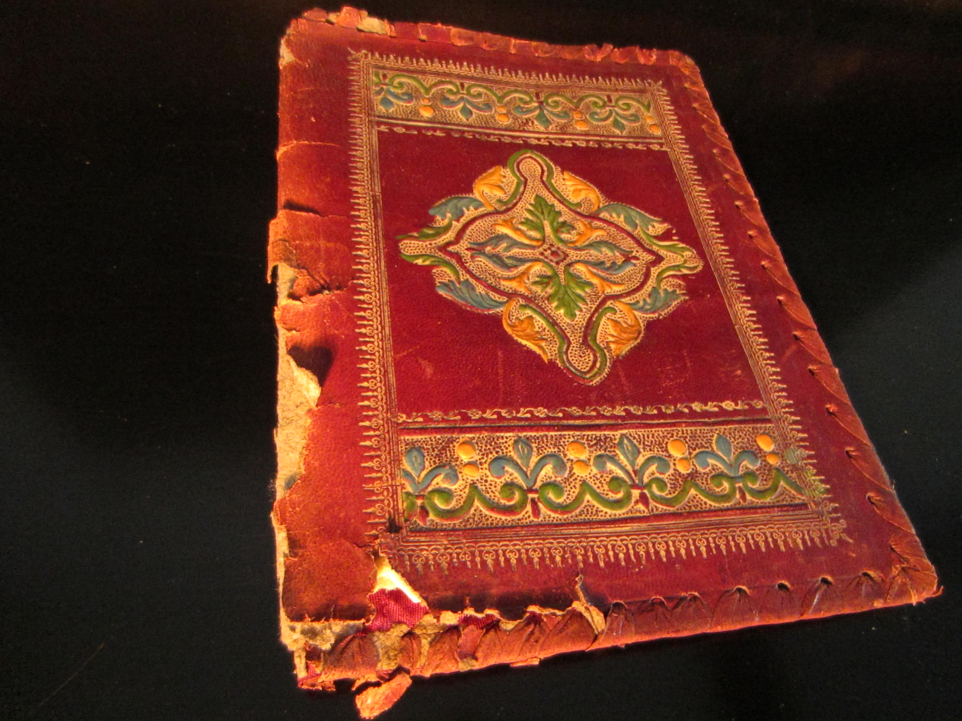 Old Book Covers For Sale : Made in italy red leather emboss book cover for sale