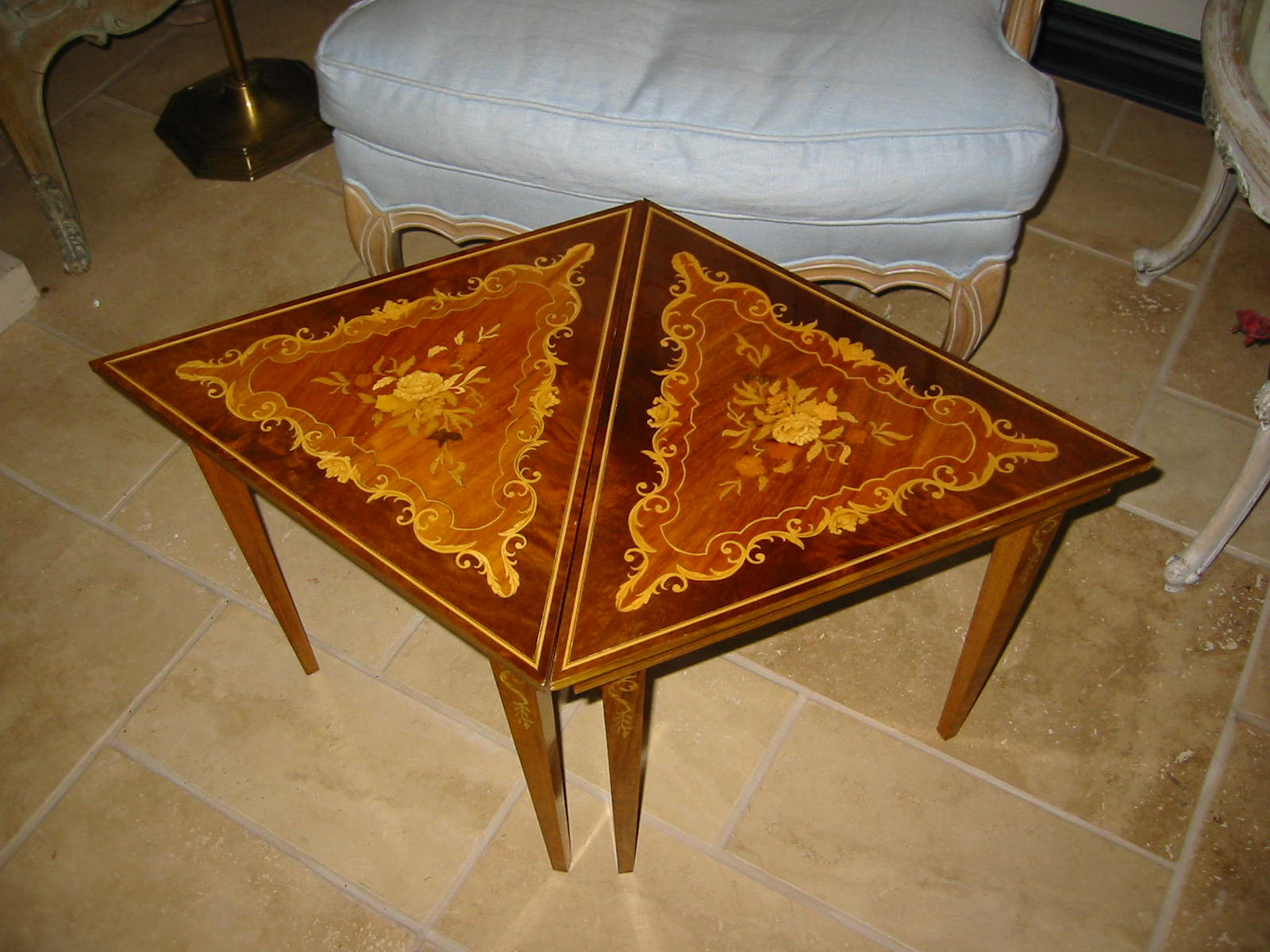 Italian Inlay Marquetry Wood Side Tables For Sale