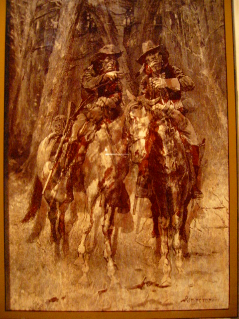 Remington Cowboy Indian Reverse Glass Painting For Sale Antiques