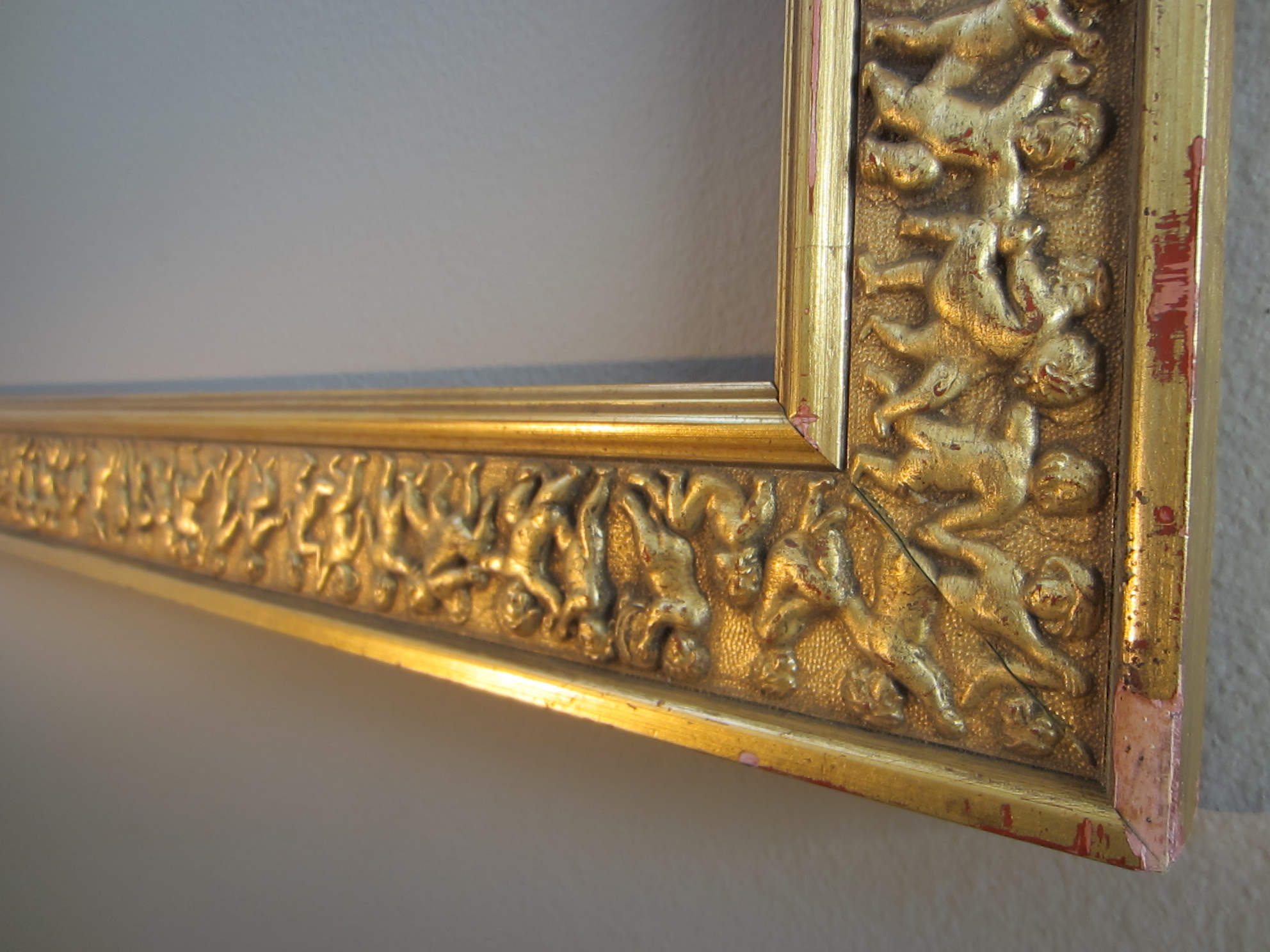 Gold Leaf Wood Picture Frame Raised Figures In Motion For Sale ...