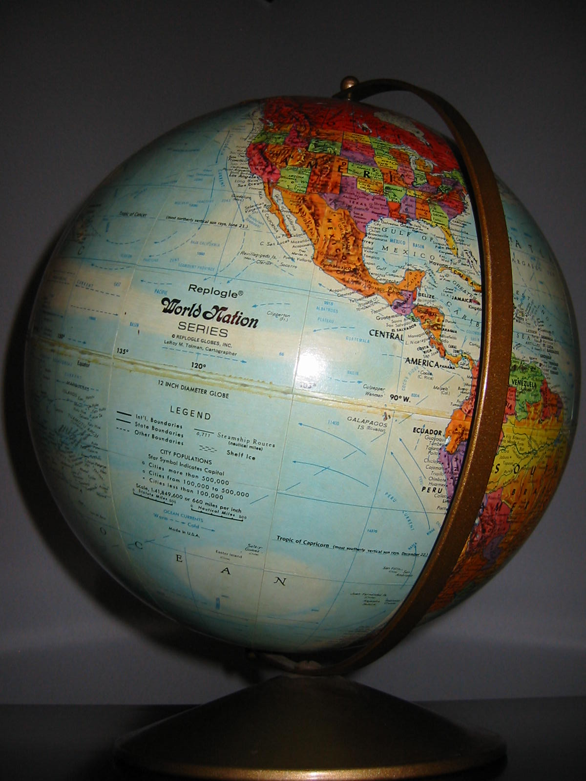 Replogle World Motion Series 12 Desktop Globe In Relief Colorful Paper Mache Metal Stand Held By Belt Old Country Names Yugoslavia