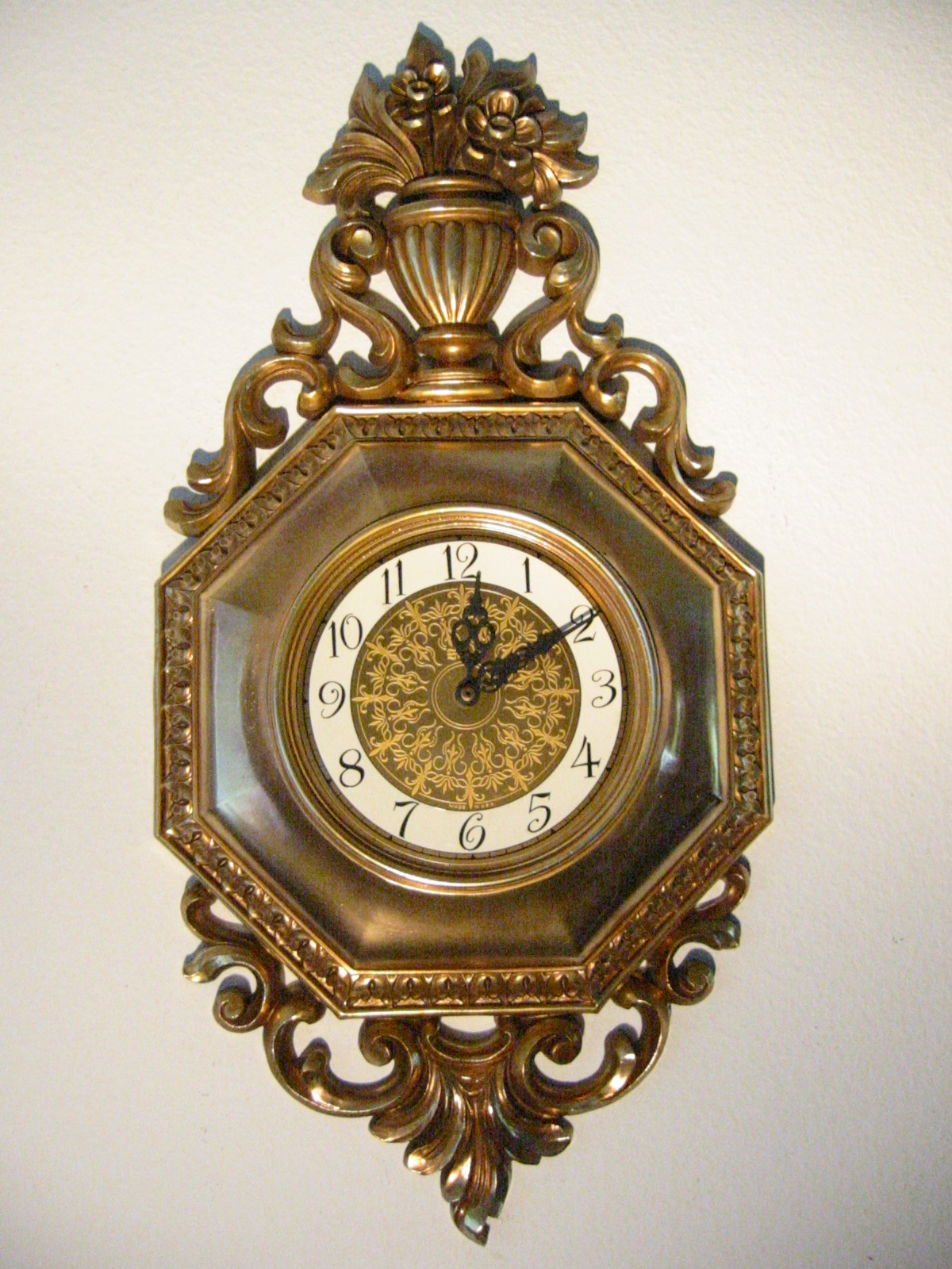 syrocco rococo style golden wall clock for sale antiques