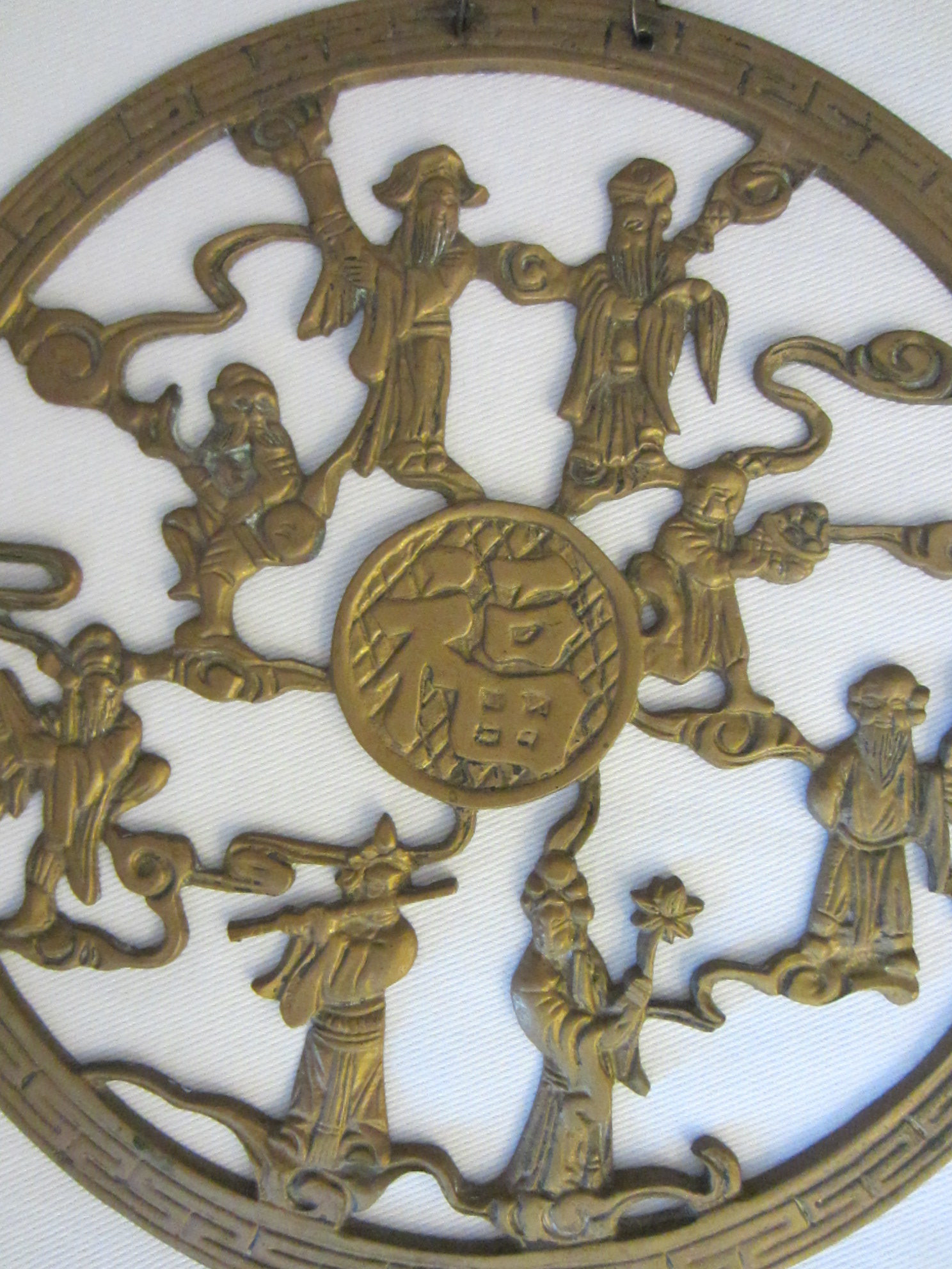 Chinese Brass Wall Art Good Luck Figurative Characters For Sale
