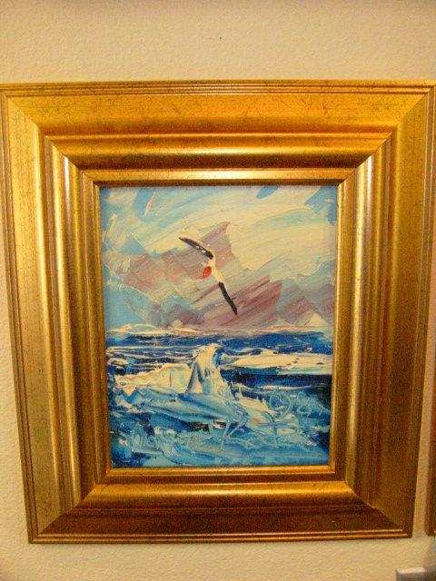 Morris Katz Seascape Oil On Board Sea Gulls For Sale