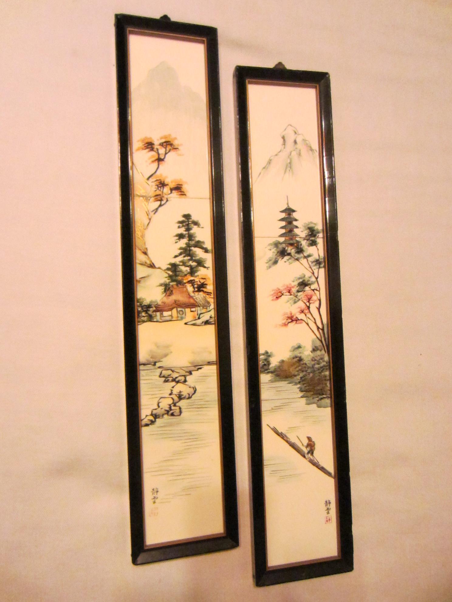 Cdgc Japan Hand Decorated Framed Porcelain Tiles For Sale