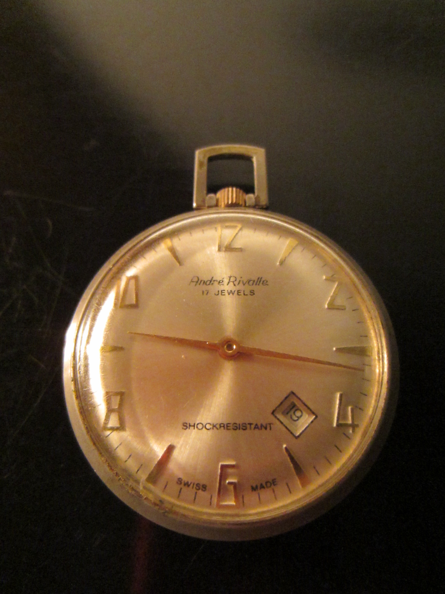 Andre Rivalle Swiss Pocket Watch Open Face Mid Century 17