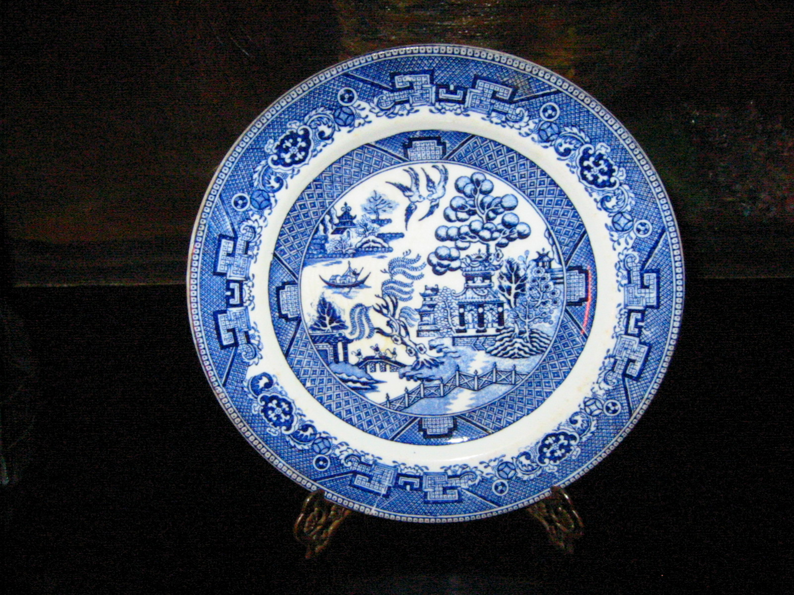 Willow Royal Doulton blue u0026 white figurative plate impressed st& marks. excellent 7.5  d. Antique Porcelain u0026 Pottery & Willow Royal Doulton Porcelain Plate Figurative Blue White For Sale ...