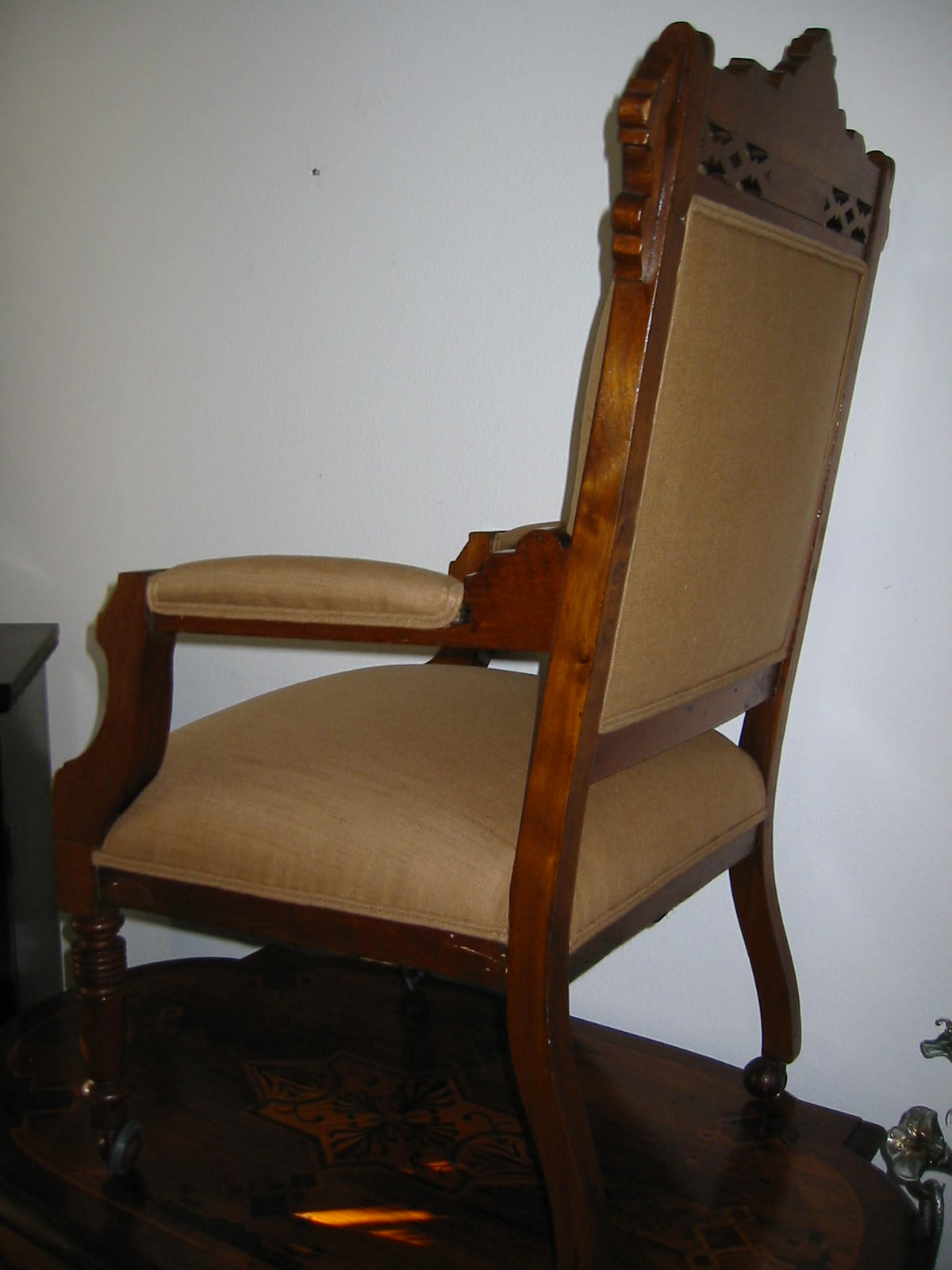 Empire Wood Arm Chair Crested Updated Upholstery For Sale