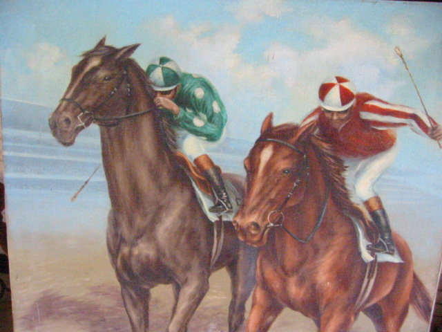 Signed de voe polo game unframed oil on canvas