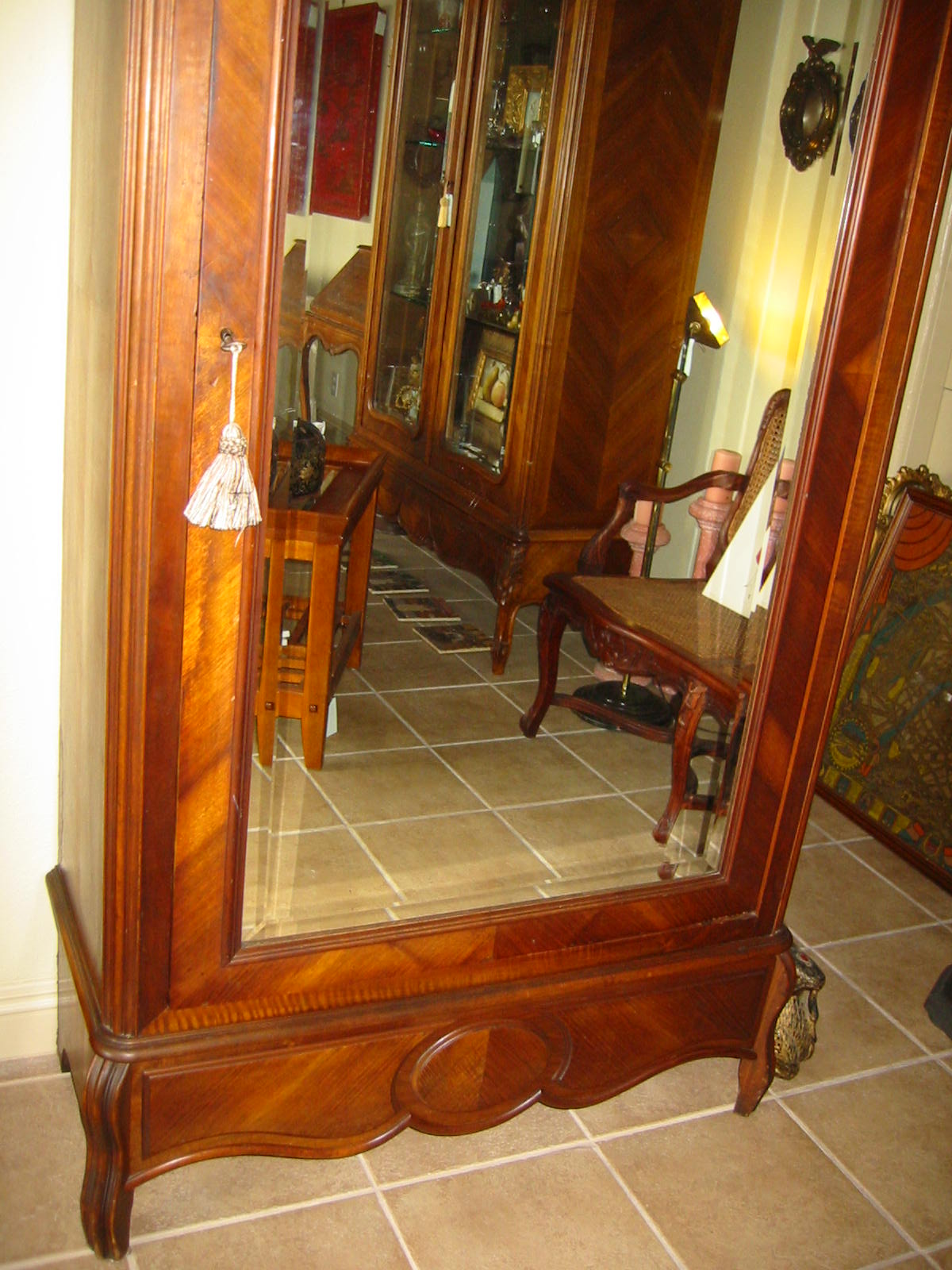french mahogany walnut wood mirror armoire for sale. Black Bedroom Furniture Sets. Home Design Ideas