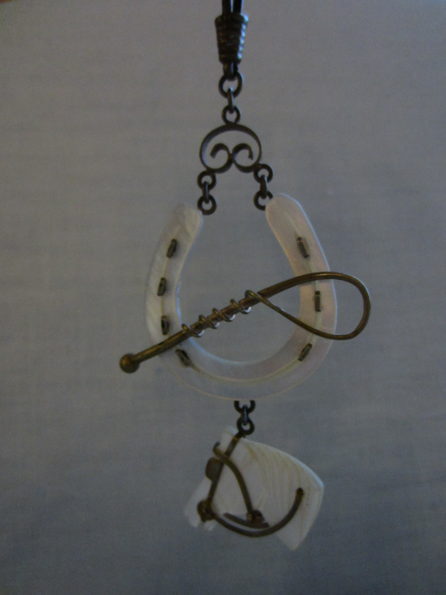 Equestrian Fob Watch Holder Mother Of Pearl Horse Head