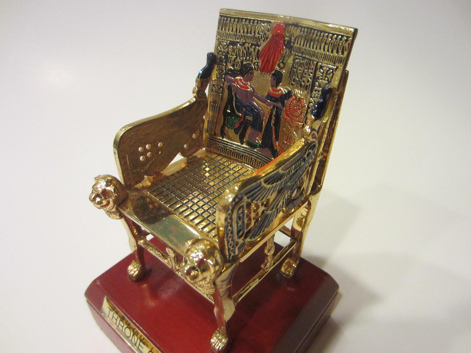 Throne Tut Egyptian Decorative Elaborated Golden Chair Statute