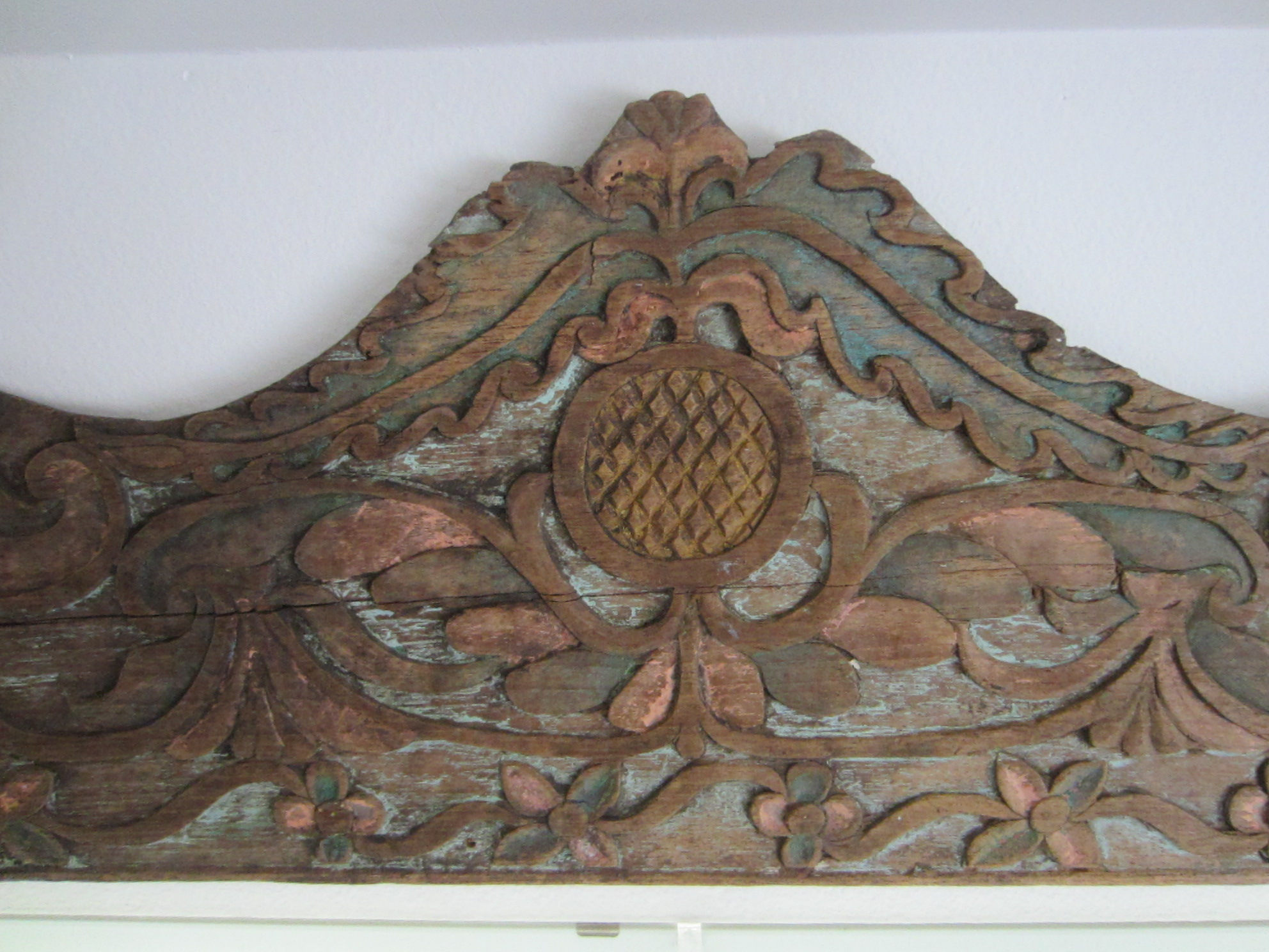 Celtic wood carving decor hand painted floral design for