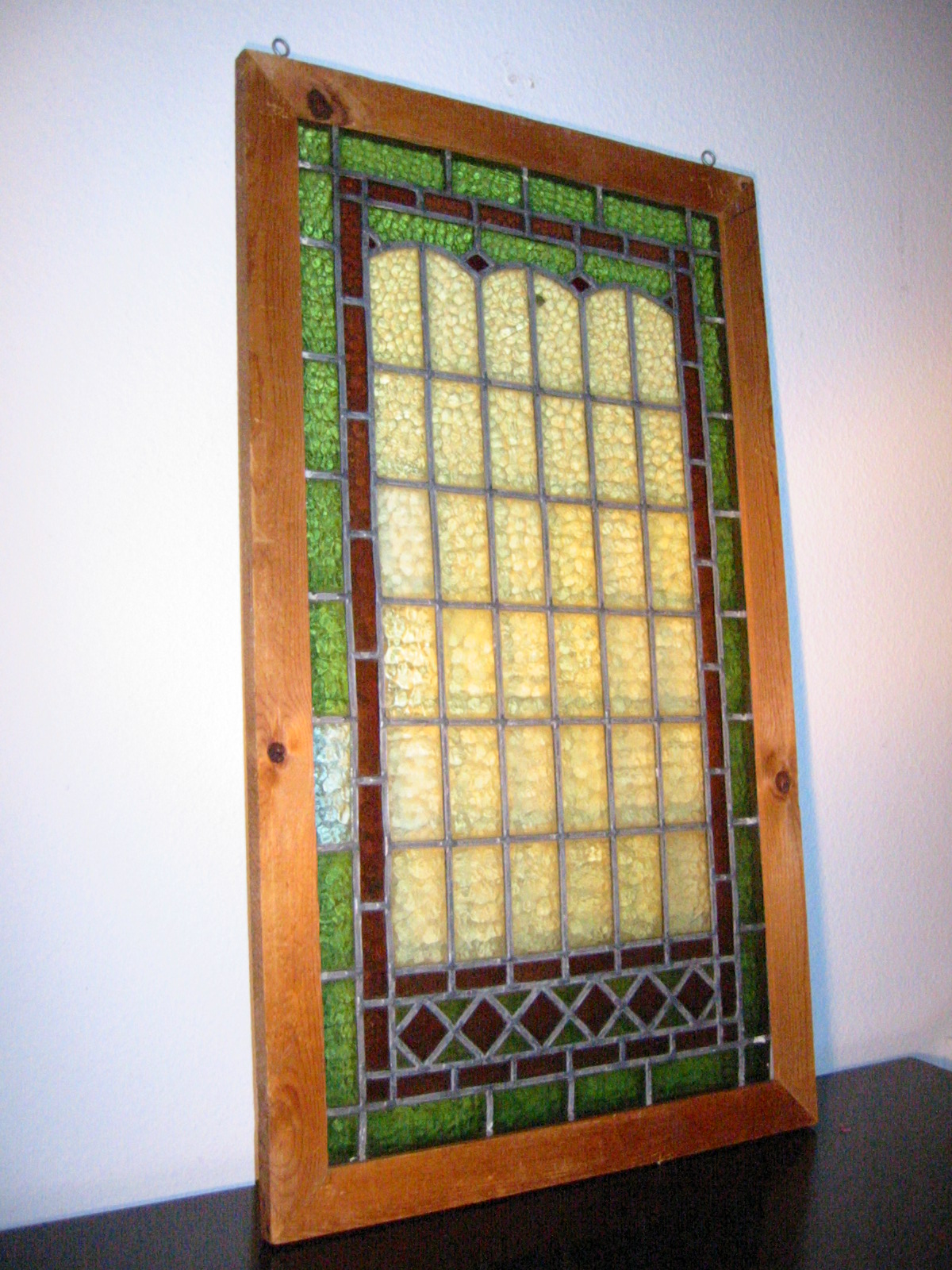 Stained Glass Wood Window Panel For Sale