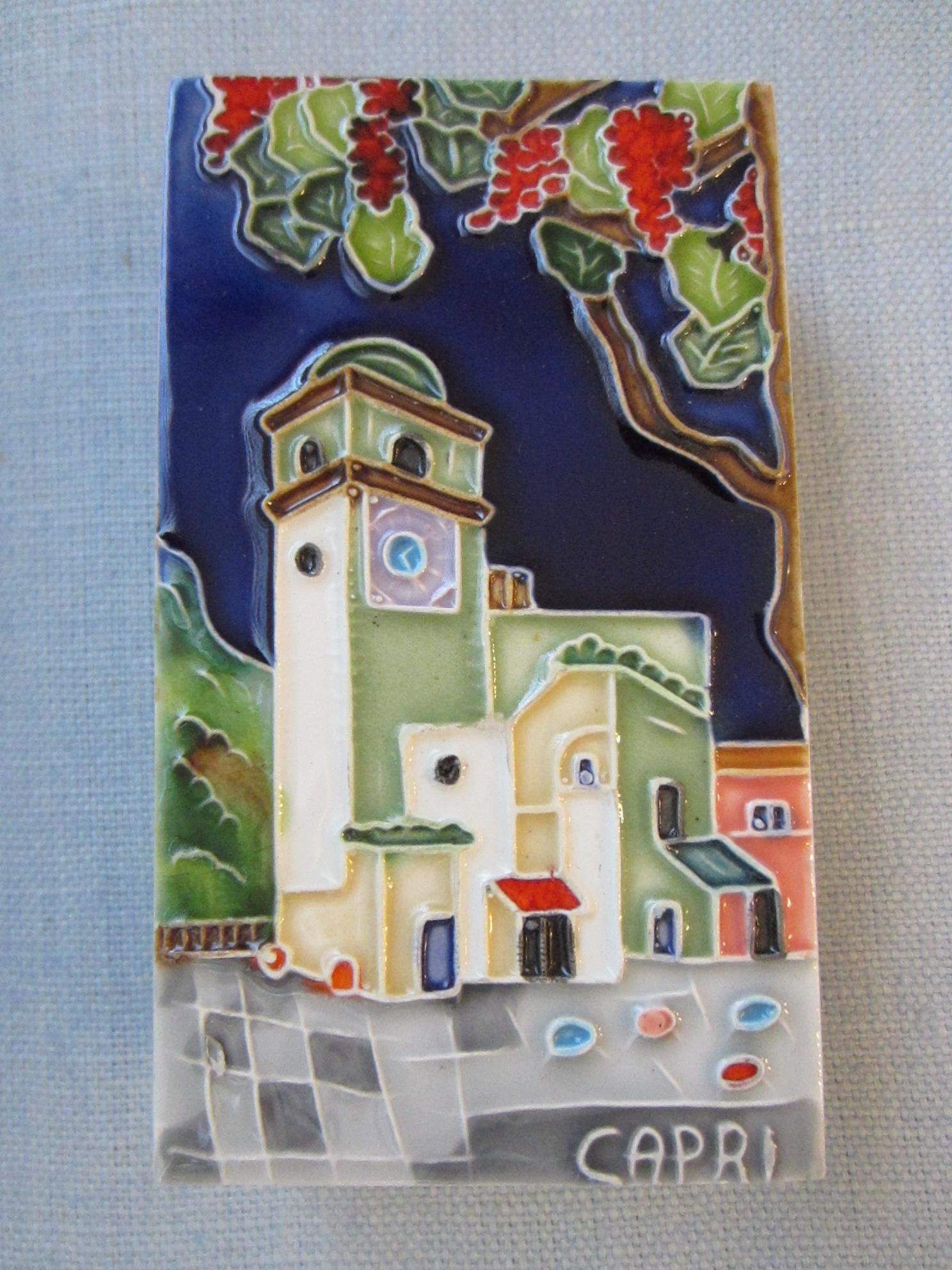 Ceramic Tile Capri Italy Match Box For Sale