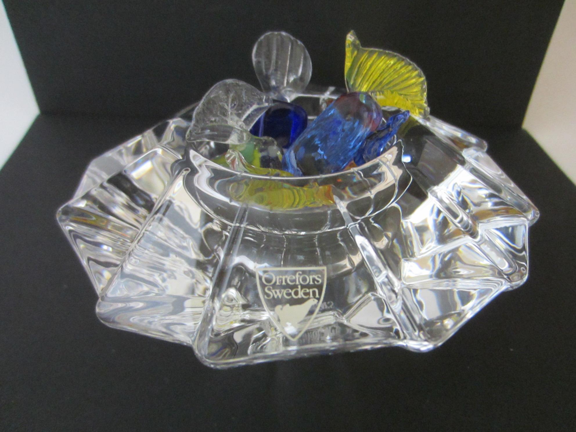 Orrefors Sweden Crystal Votive Candle Holder For Sale