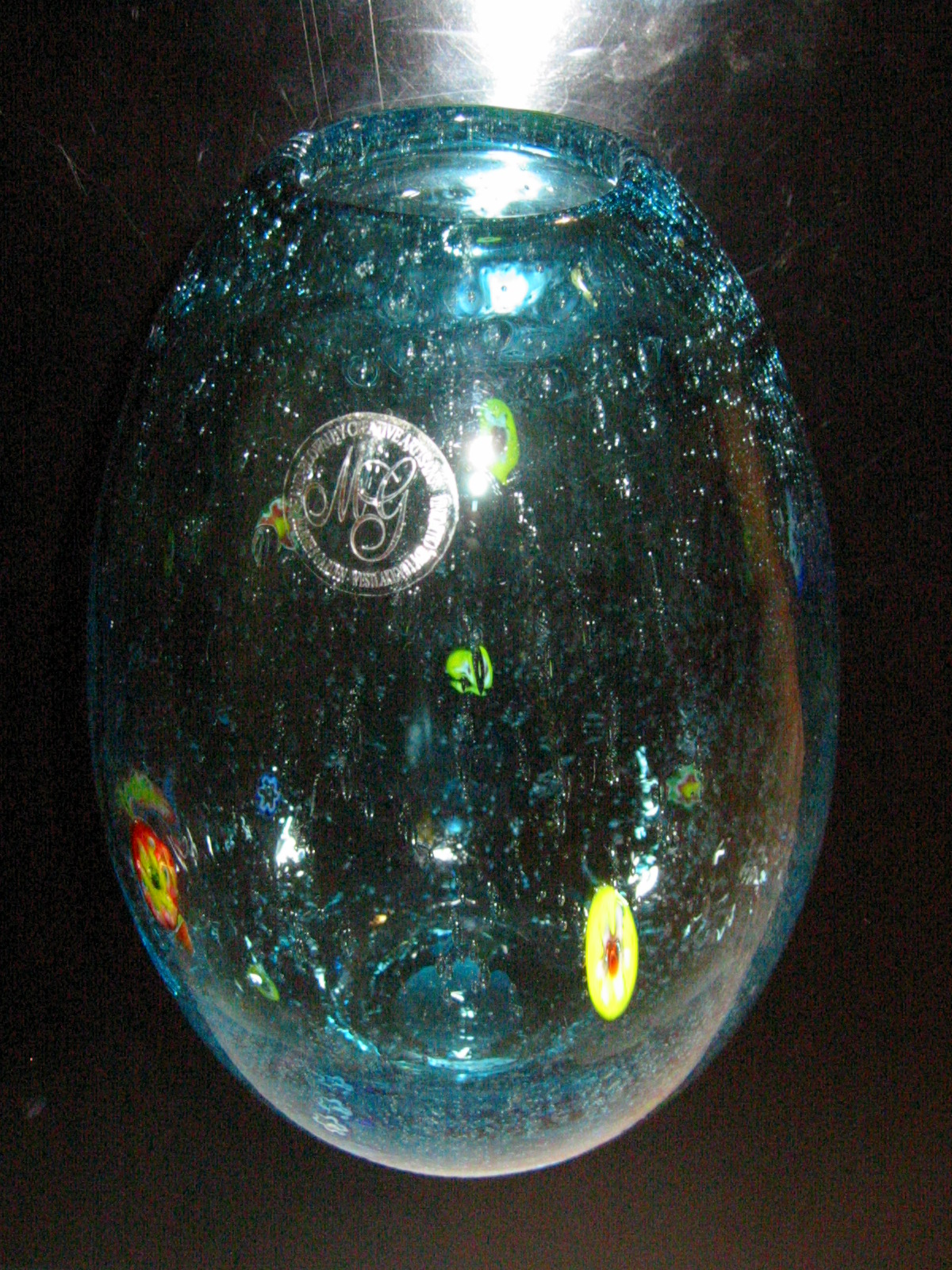 Margies garden hand blown glass vase for sale antiques spectacular hand blown blue glass vase gorgeous floral encased colored glass natural bubbles excellent condition by california designer margies garden reviewsmspy