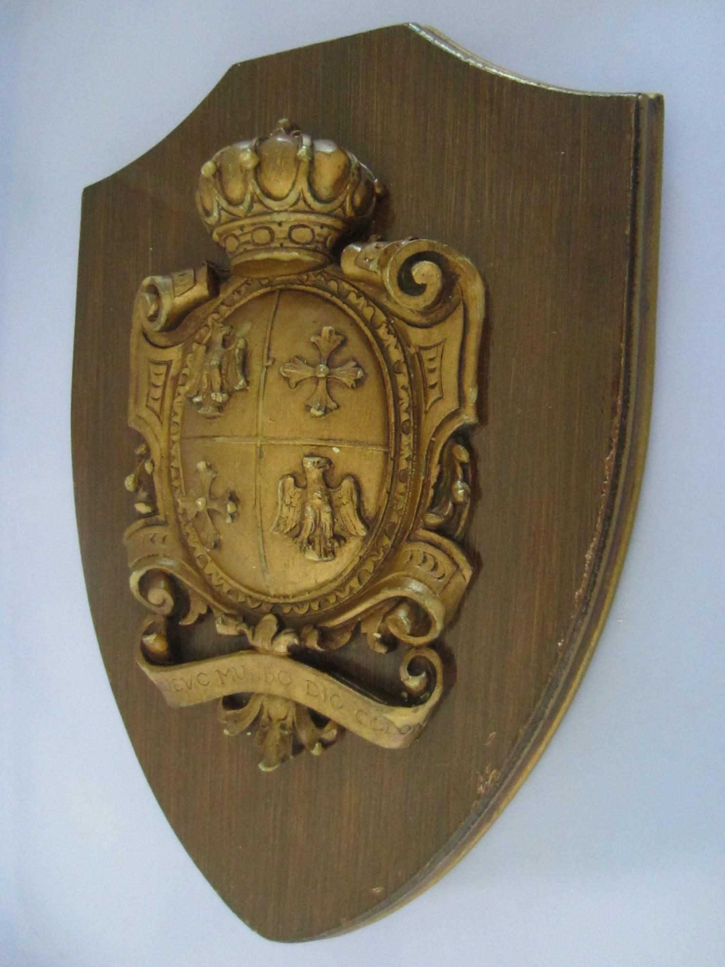 Medieval Wall Plaque Crown Shield Coat Of Arm Nuevo Mundo